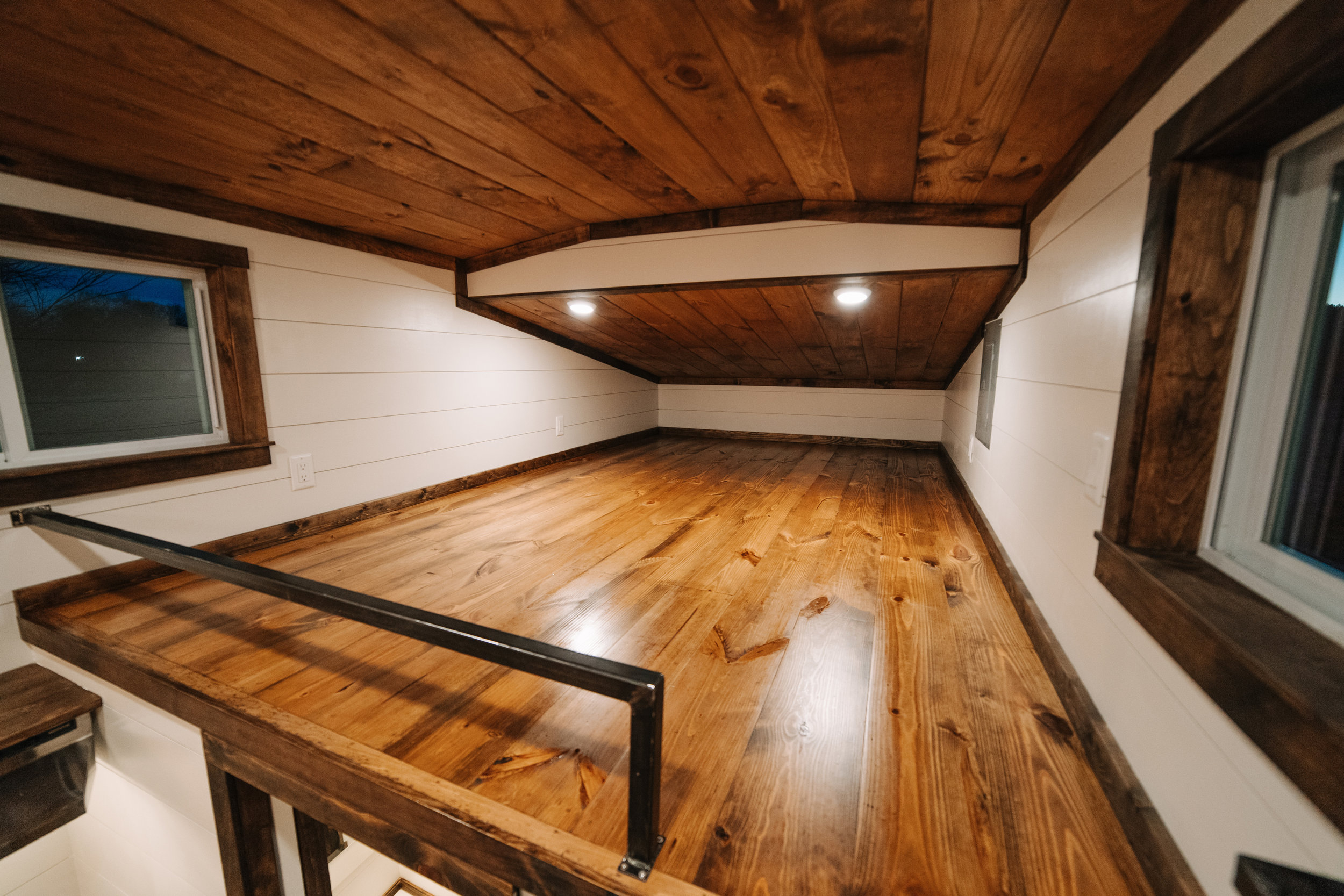 The Noah by Wind River Tiny Homes - shiplap, custom welded steel ladder & railing, knotty pine tongue and groove ceiling