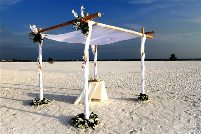 Covered candle table on Siesta Key Beach