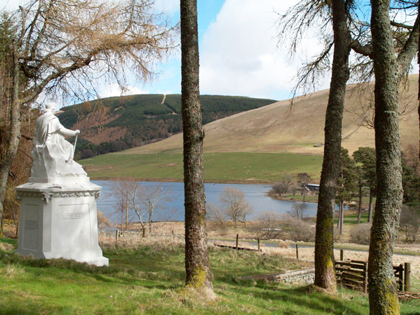 The James Hogg Monument overlooking St Mary's Loch, Yarrow.