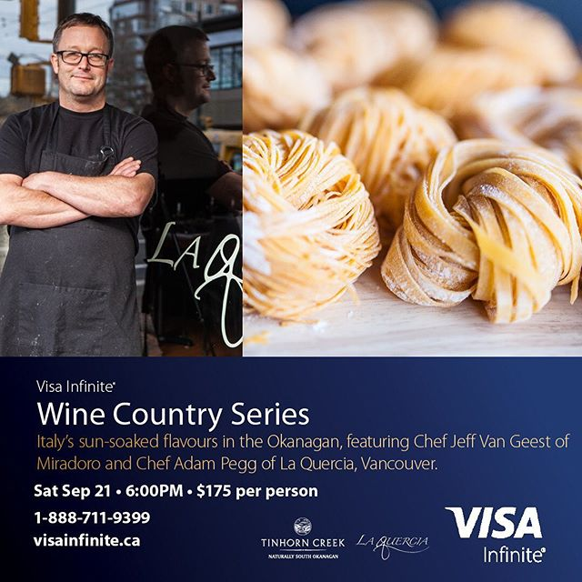 Prepare to be transported to to sunny Italy as Miradoro welcomes Adam Pegg of Vancouver's award-winning La Quercia, for an elevated wine country dinner that will dish out all the flavour and fun of Italy while making the most of late summer bounty. .  Tickets: 1-888-711-9399 visainfinite.ca  @jeff_van_geest @laquerciakitchen @tinhorncreek  @miradororesto . #okanaganwine #okanaganchefs #okanaganfoodie #yycfoodie #yvrfoodies #foodandwine  #southokanagan #okanaganliving #vancouverliving #vancouverfoodie #vancouverfoodies #yvrdining #yvrfood #yvrfoodies #winepairingdinner #bcwine