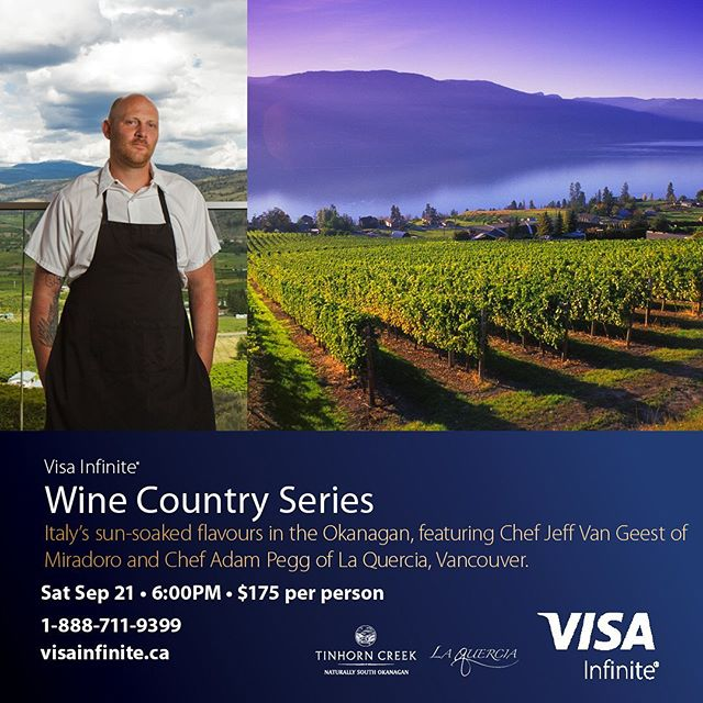 Prepare to be transported to to sunny Italy as Miradoro welcomes Adam Pegg of Vancouver's award-winning La Quercia, for an elevated wine country dinner that will dish out all the flavour and fun of Italy while making the most of late summer bounty. .  Tickets: 1-888-711-9399 visainfinite.ca  @jeff_van_geest @laquerciakitchen @tinhorncreek  @miradororesto #okanaganwine #okanaganchefs #okanaganfoodie #yycfoodie #yvrfoodies #foodandwine  #southokanagan #okanaganliving #vancouverliving #vancouverfoodie #vancouverfoodies #yvrdining #yvrfood #yvrfoodies #winepairingdinner #bcwine