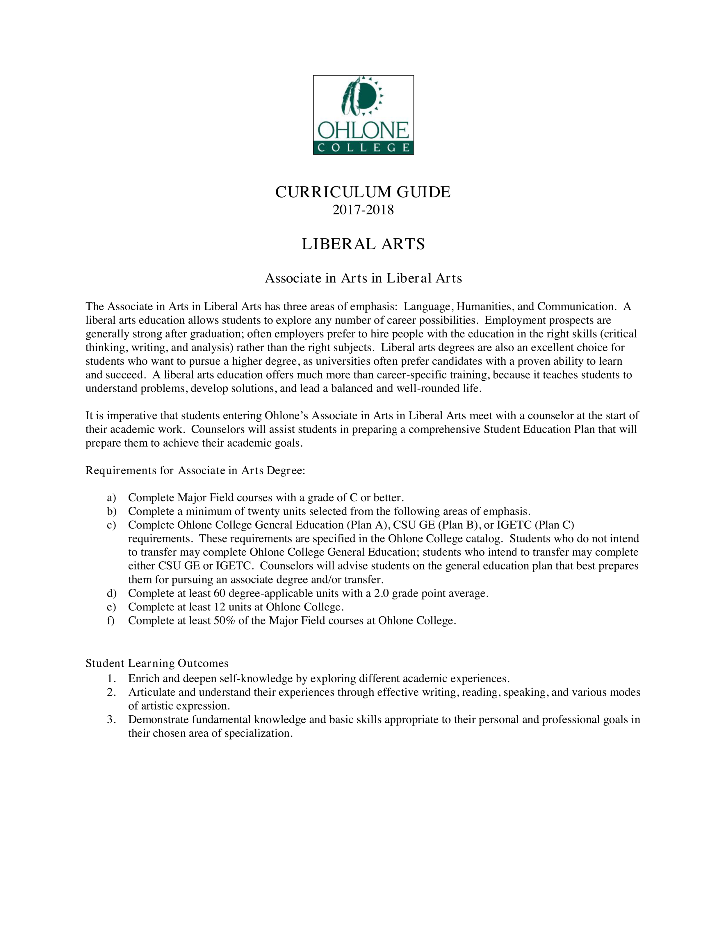 Curriculum Guide: Associate of Arts in Liberal Arts: Language Emphasis, Ohlone College, Fremont, CA, 2019 (1/4),  https://www.ohlone.edu/program/liberal-arts-language-emphasis , Accessed 10 May 2019