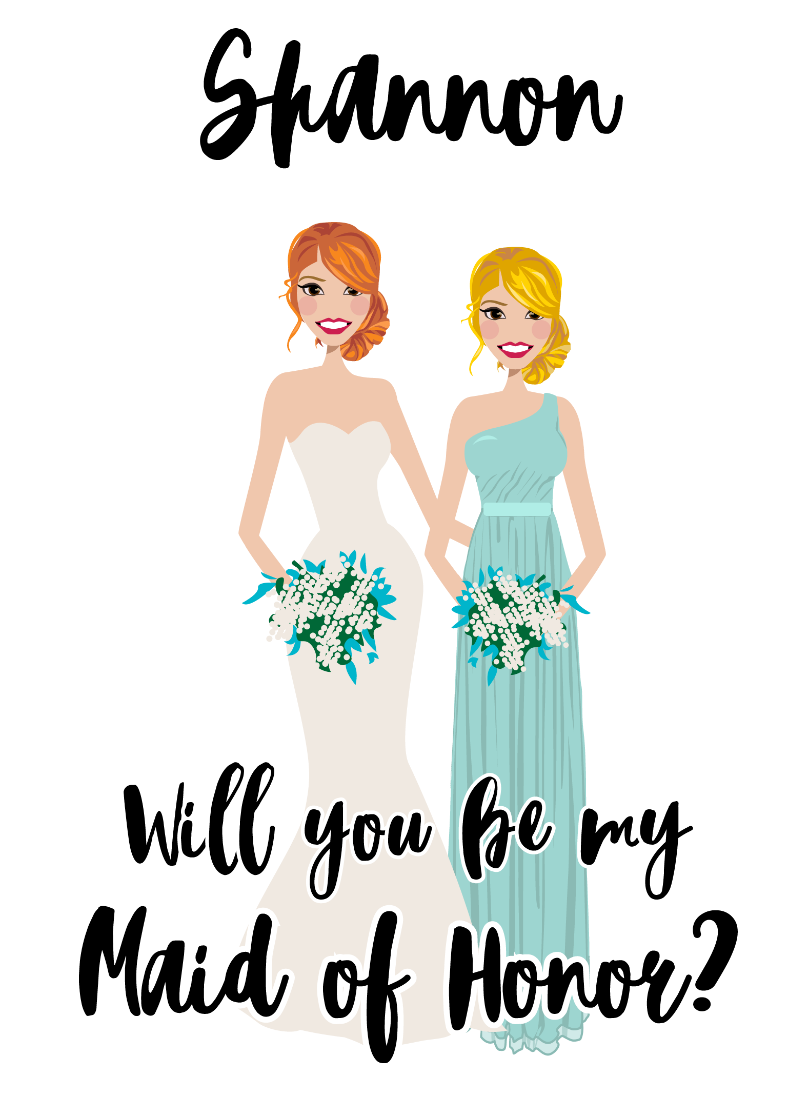 Final Design of Custom Illustration - Here are the final designs (right and above) that Allison approved. They are beautiful vector illustrations of her with her bridesmaid and Maid of Honor.