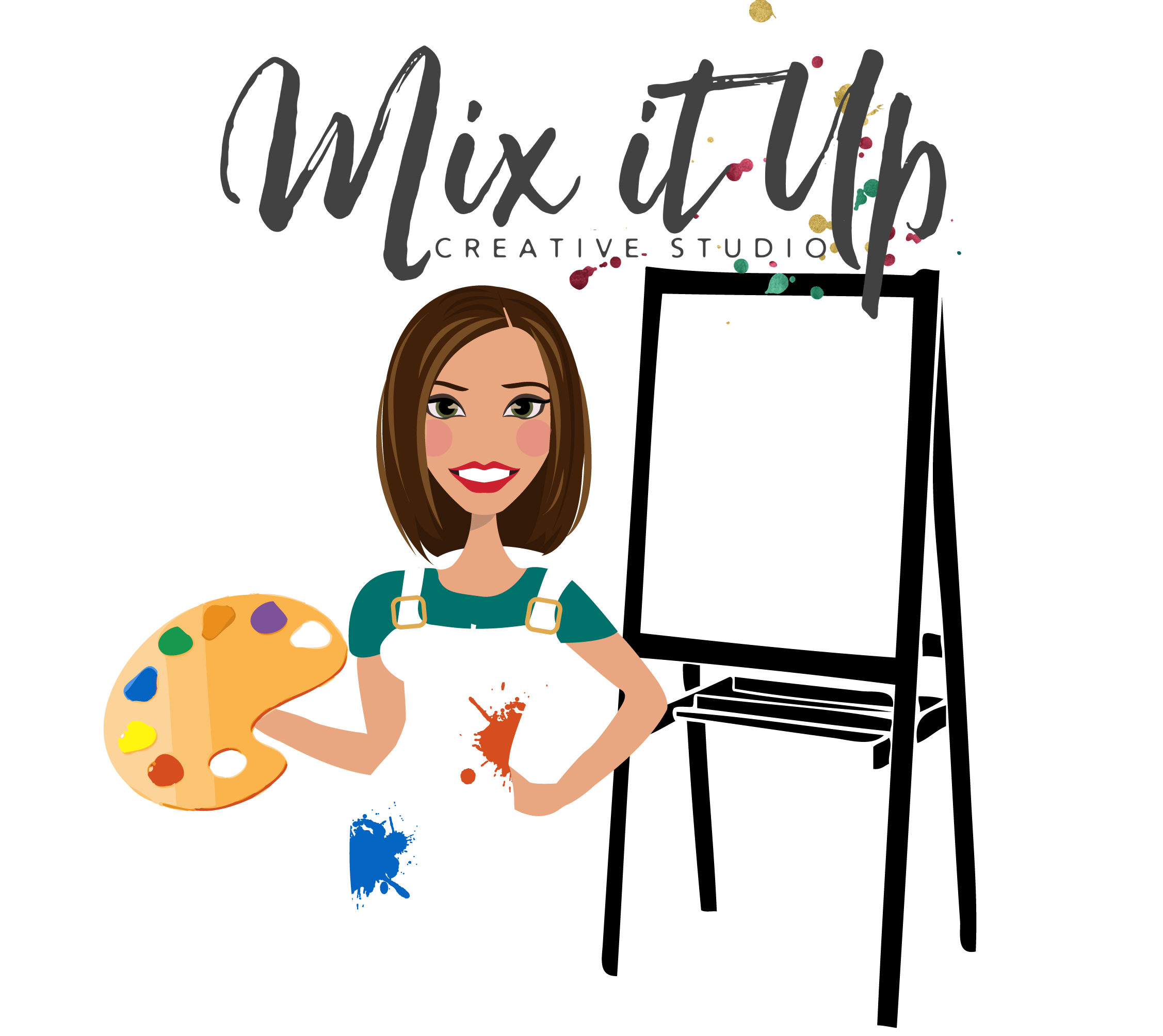Final Design of Custom Portrait Illustration - Here is the final design that Andrea approved. It is a beautiful vector illustration of an art teacher.This type of design works perfectly for a teacher, tutor, or for classroom purposes.
