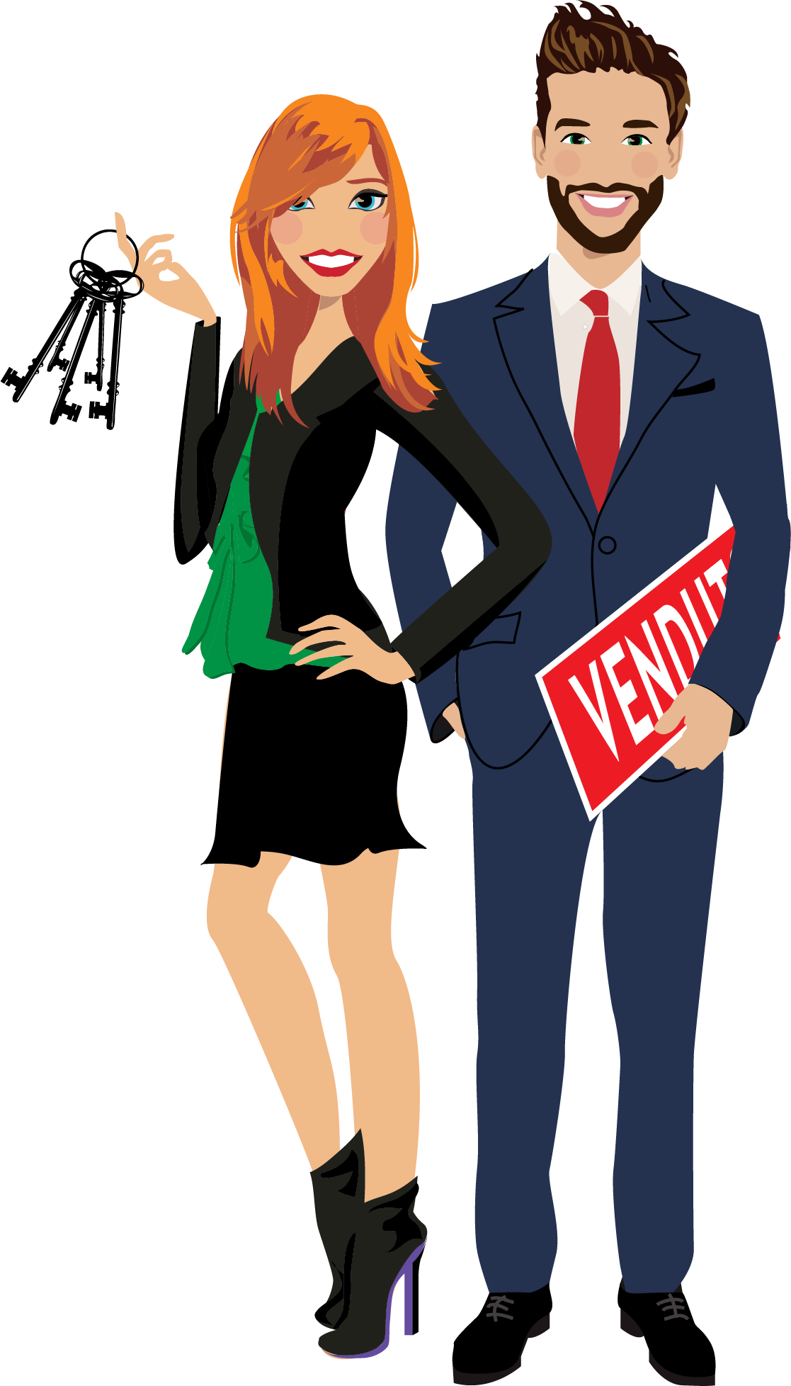 Final Design of Custom Portrait Illustration - Here is the final design that Ann approved. It is a beautiful vector illustration of herself with her business partner; both real estate agents from Italy.