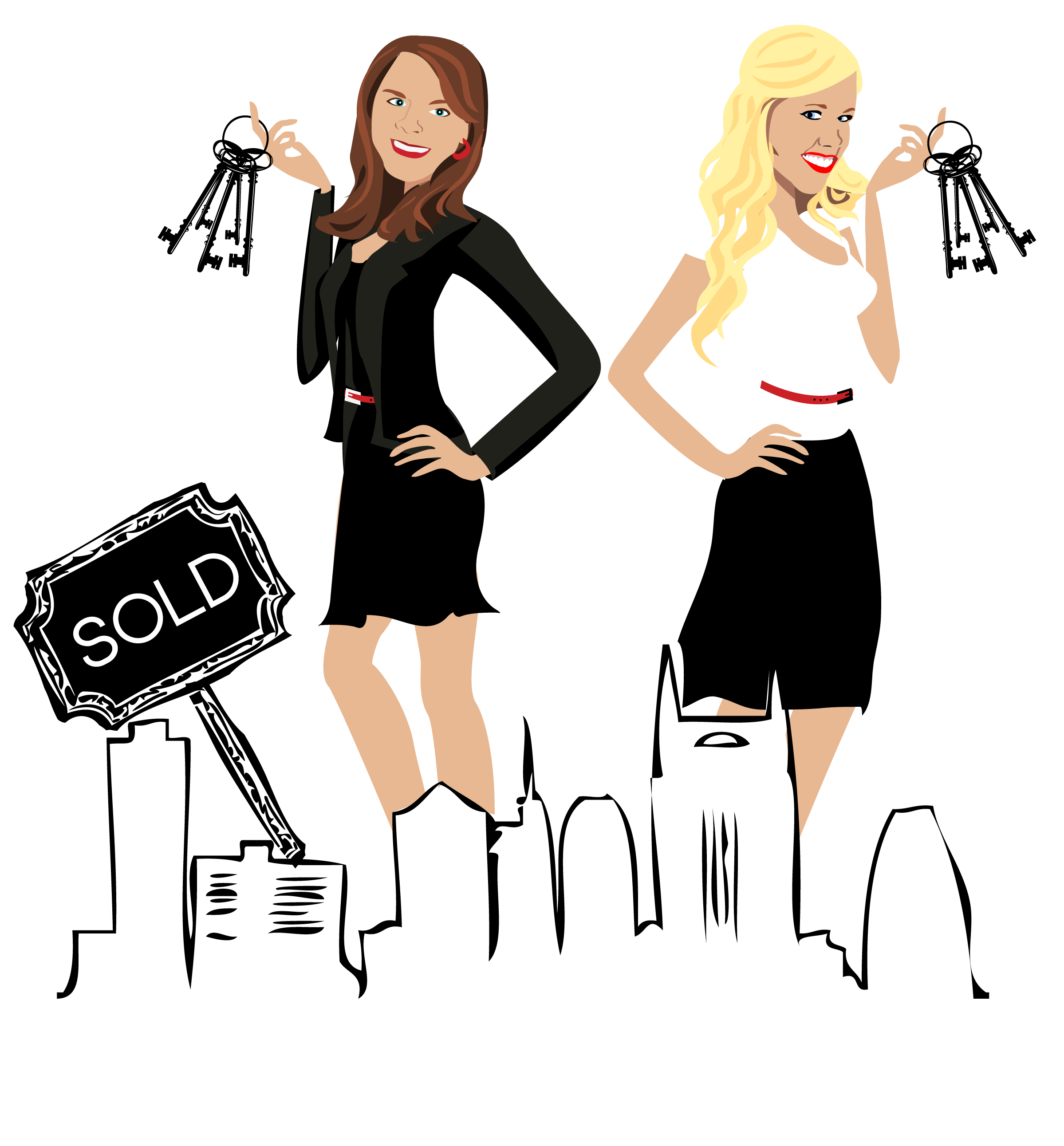 Final Design of Custom Portrait illustration - Here is the final design that Candace approved. It is a beautiful vector illustration of herself and her colleague, Caroline with the Nashville city skyline.This type of design works wonderfully as a logo for Real Estate Agents.