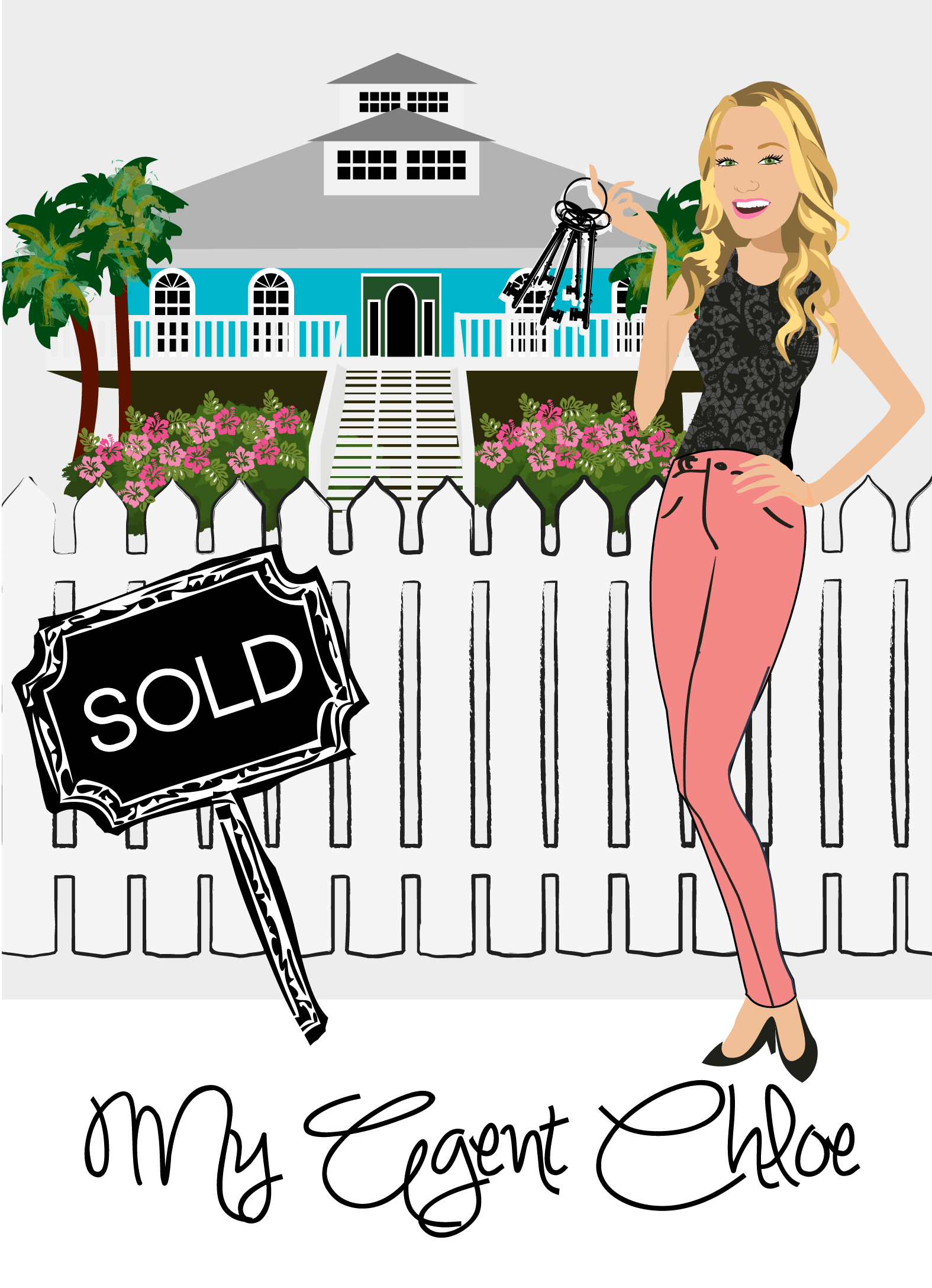 Final Design of Custom Portrait illustration - Here is the final design that Chloe approved. It is a beautiful vector illustration of her in her profession as a Realtor. This type of design works wonderfully as a logo for Real Estate Agents.
