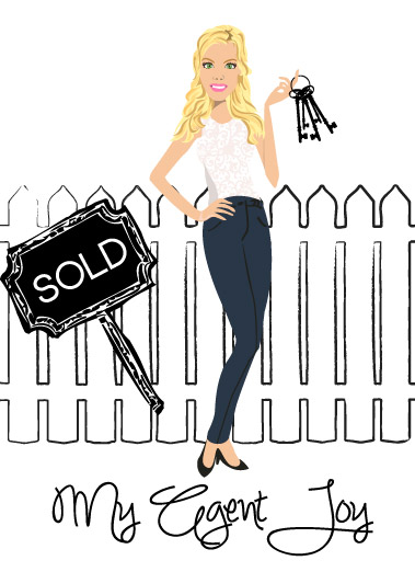 Final Design of Custom Portrait illustration - Here is the final design that Candace approved. It is a beautiful vector illustration of her agent, Joy. This type of design works wonderfully as a logo for Real Estate Agents.
