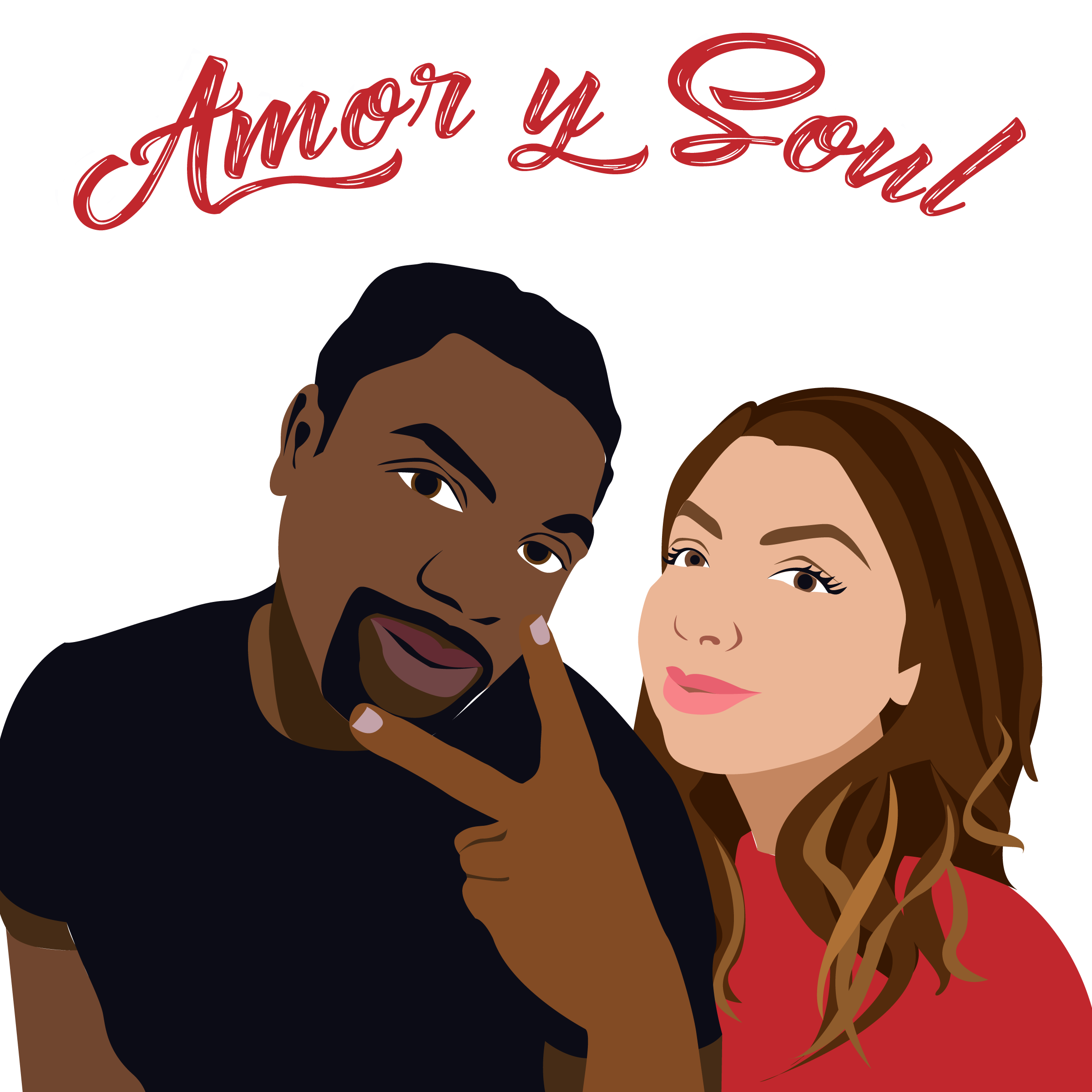 Final Design of Custom Portrait illustration - Here is the final design that Erika approved. It is a beautiful vector illustration of her and her boyfriend. This type of design works wonderfully for podcast and webinar logos.