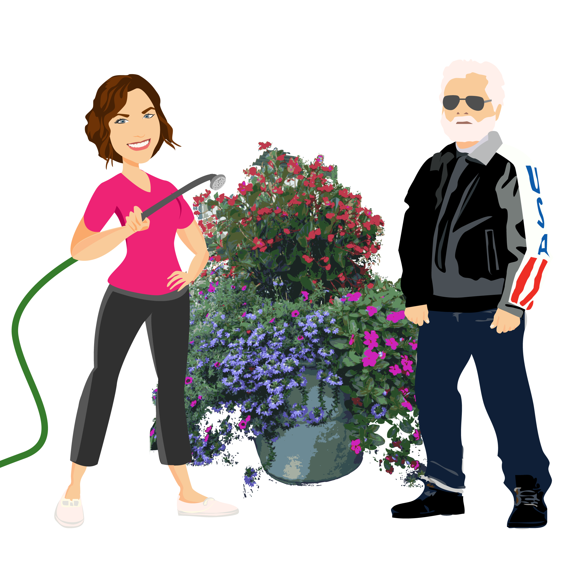 Final Design of Custom Portrait illustration - Here is the final design that Haley approved. It is a beautiful vector illustration of her and the WJGA 92.1 station manager. This type of design works wonderfully for landscaping professionals or radio personalities.
