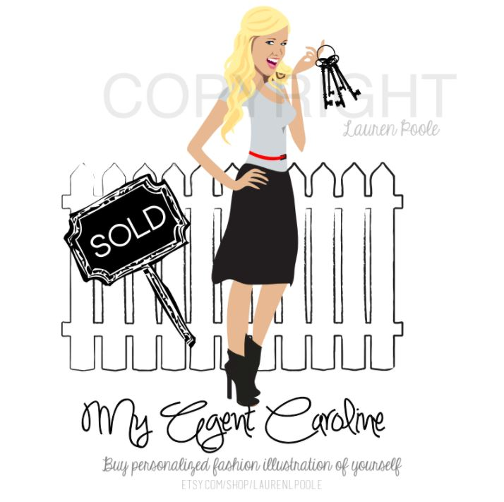 Final Design of Custom Portrait illustration - Here is the final design that Candace approved. It is a beautiful vector illustration of her agent, Caroline. This type of design works wonderfully as a logo for Real Estate Agents.
