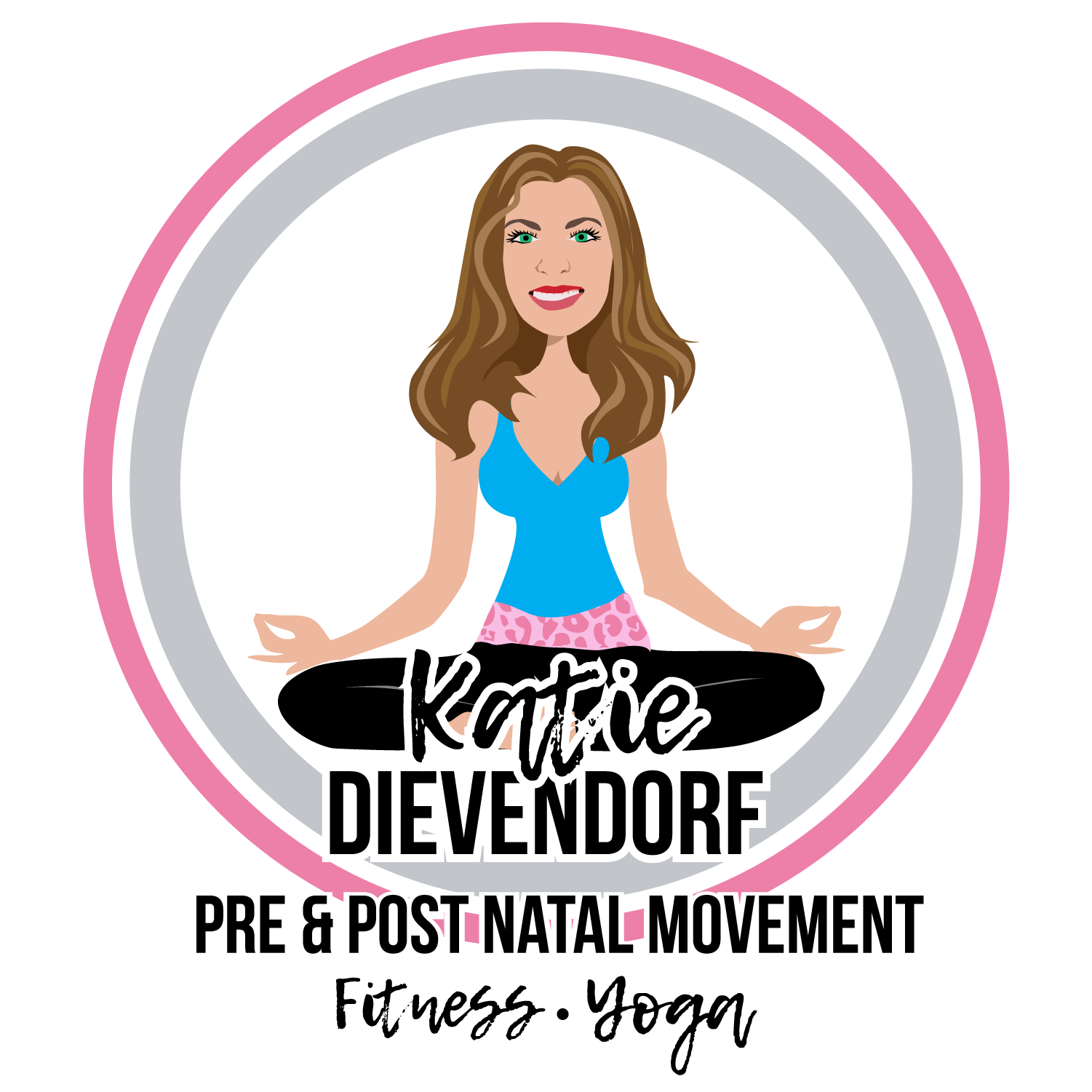 Final Design of Custom Portrait illustration - Here is the final design that Katie approved. It is a beautiful vector illustration of her in her profession as a Fitness Specialist.This type of design works wonderfully for Business Women in the Fitness or Health Profession.