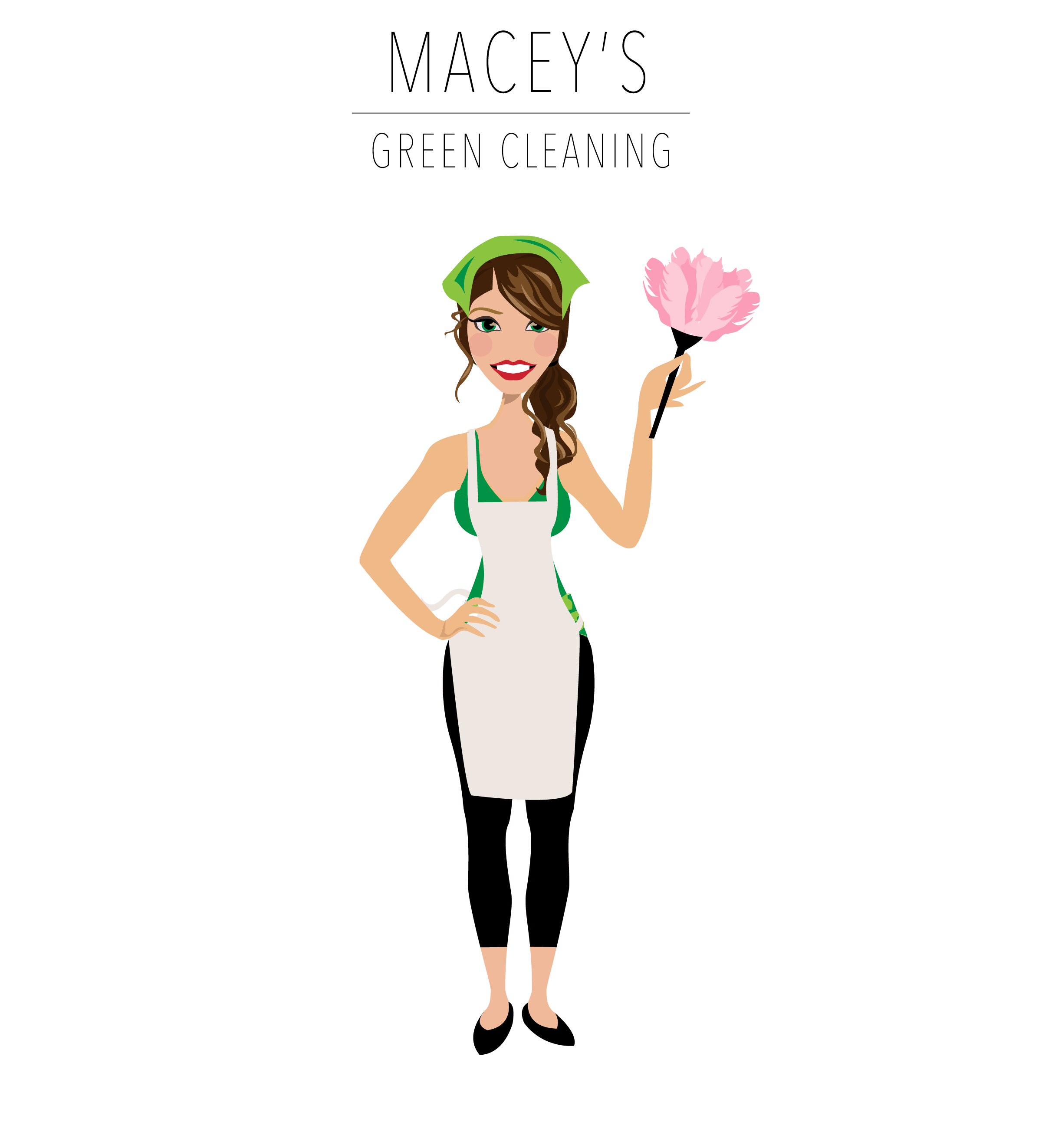 Final Design of Custom Portrait illustration - Here is the final design that Macey approved. It is a beautiful vector illustration of her Green Cleaning Business.This type of Design works wonderfully for Cleaning Services.