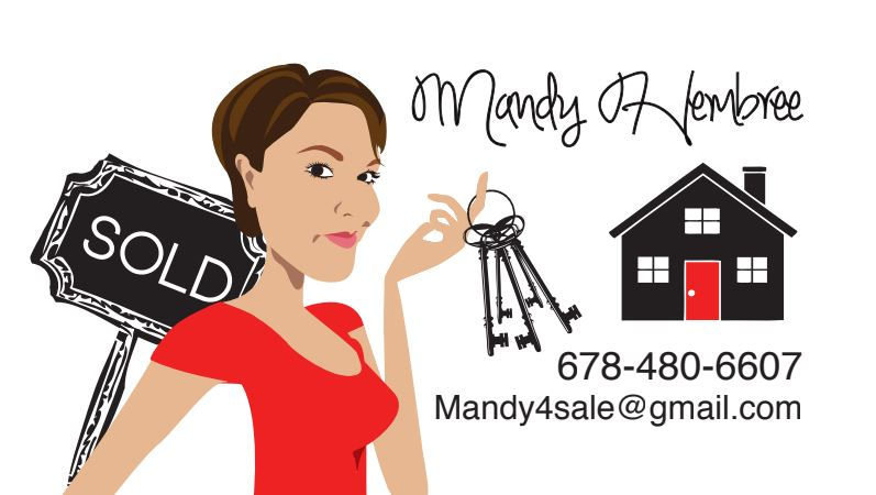 Final Design of Custom Business Card illustration - Here is the final design that Mandy approved. It is a beautiful vector illustration of her in her profession as a Real Estate Agent. This type of design works beautifully as a logo for Realtor Companies.