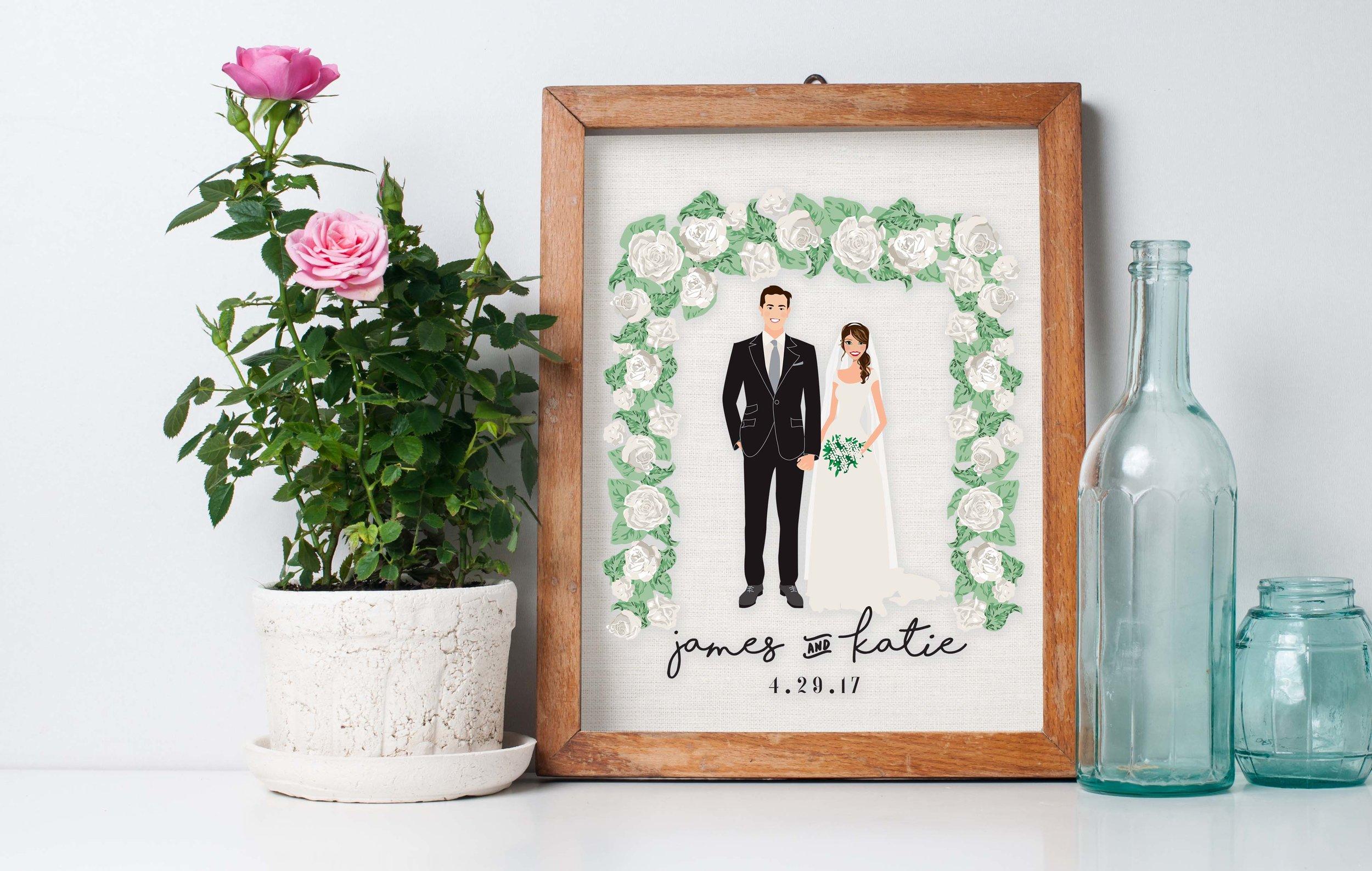 Wedding Portrait Illustrated Print