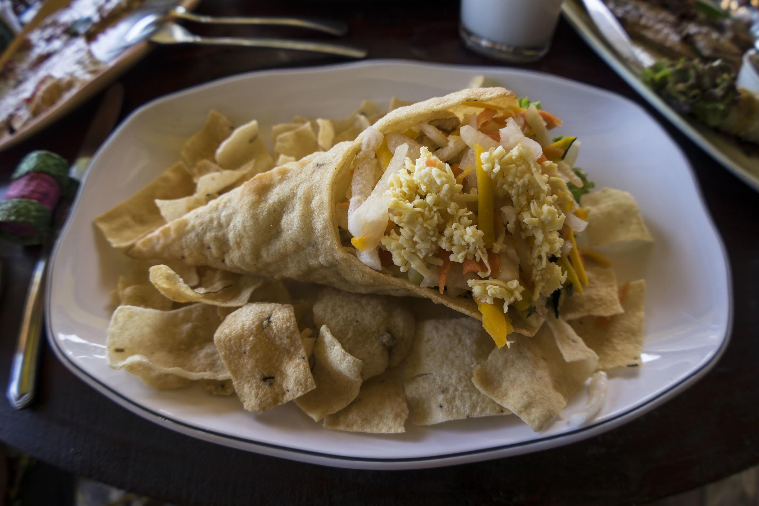 fish taco in a cassava cone