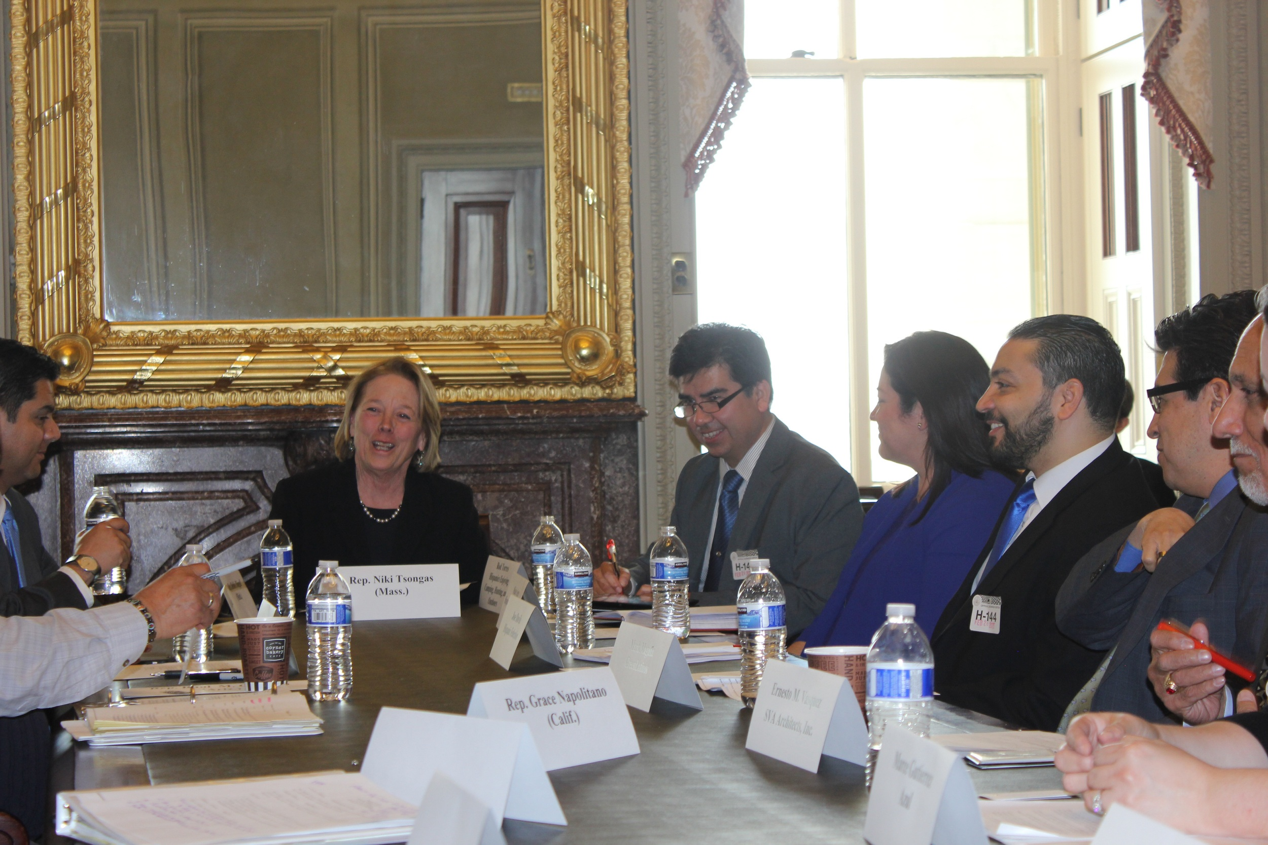 Representatives RuÍz and Tsongas (Left to right), confer with Rod Torrez of HECHO, Maite Arce of Hispanic Access Foundation, José Davila of Hispanic Federation, and Mark Magaña of Green Latinos at the historic meeting at the U.S. Capitol Building.