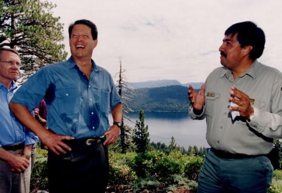 Juan Palma with Vice President Al Gore during the 1997 presidential visit to lake tahoe, ca. Nevada senator harry reid looks on.