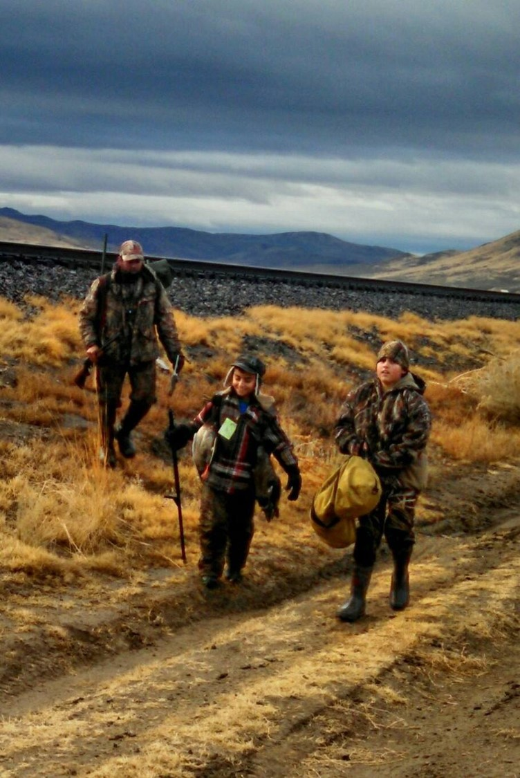 Jonathan Palma with his sons Jakoby and Swayer duck hunting in Elko County, Nevada.