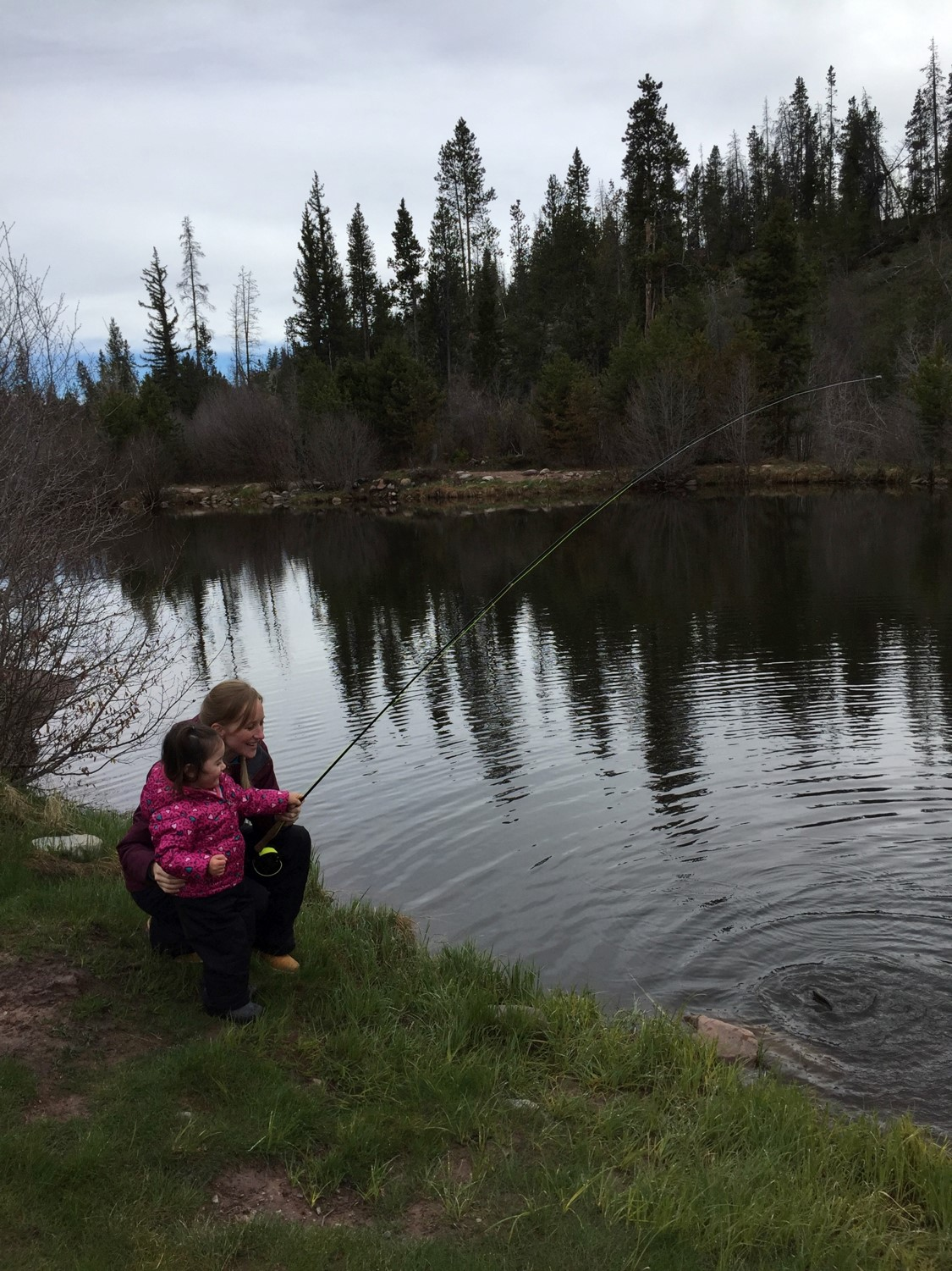 Kelleen Palma with daughter Kaylie fishing on the north Uinta Mountains.