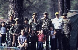 William Contreras (3rd from right) with his family and family friends enjoying a camping trip