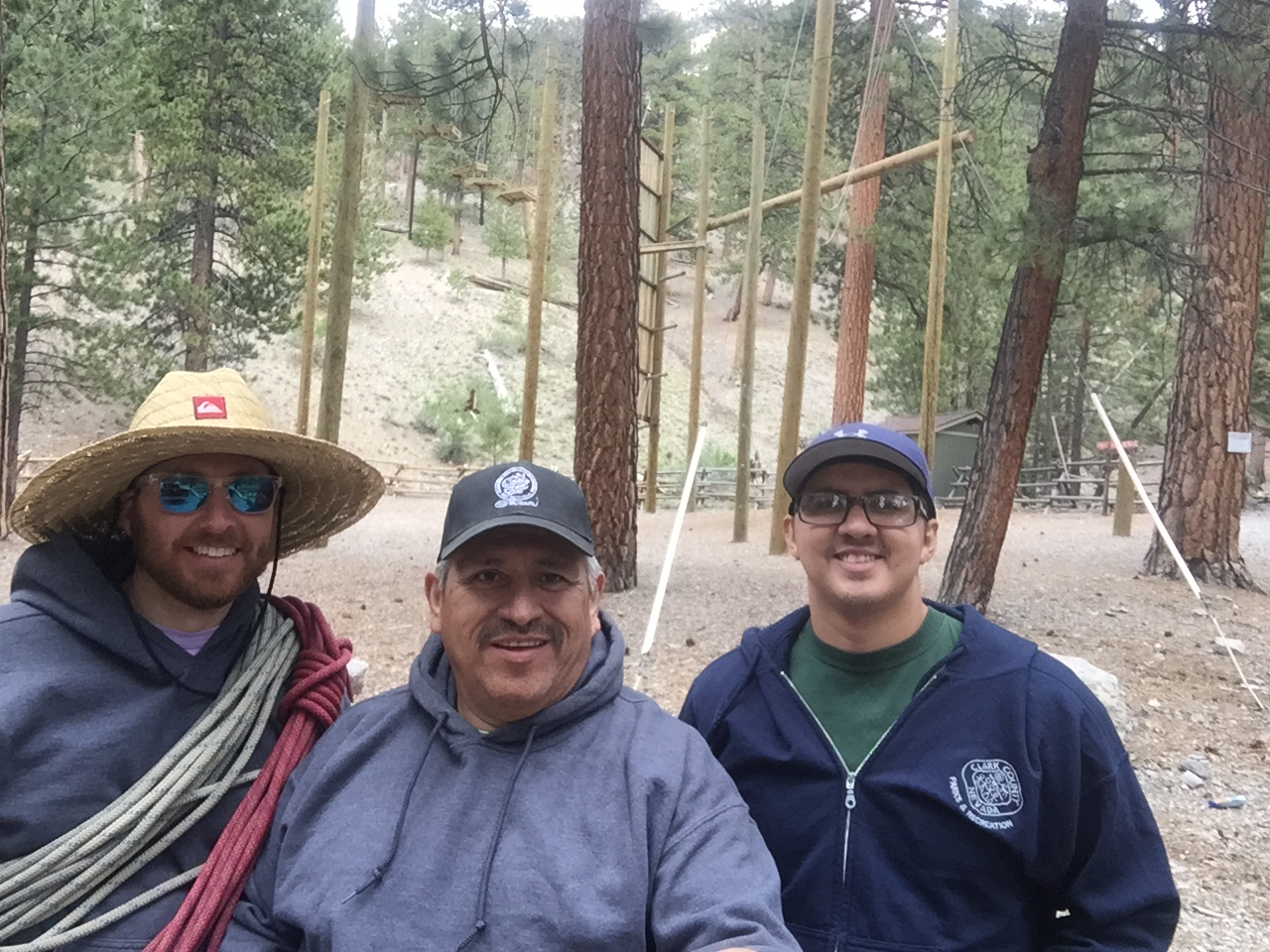 Al Martinez (center) after an outing to the ropes course