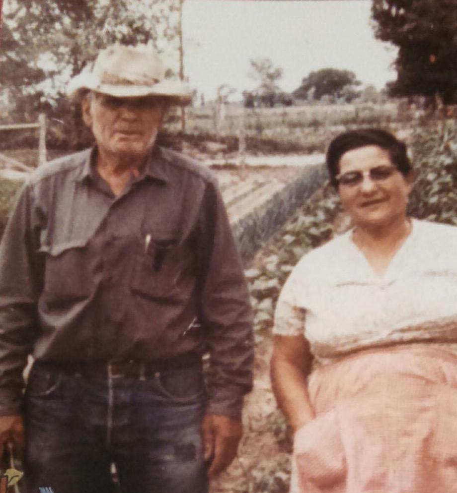 Jerry Otero's Grandpa Maxmilliano and Grandma Shone in their garden in Fruita, co