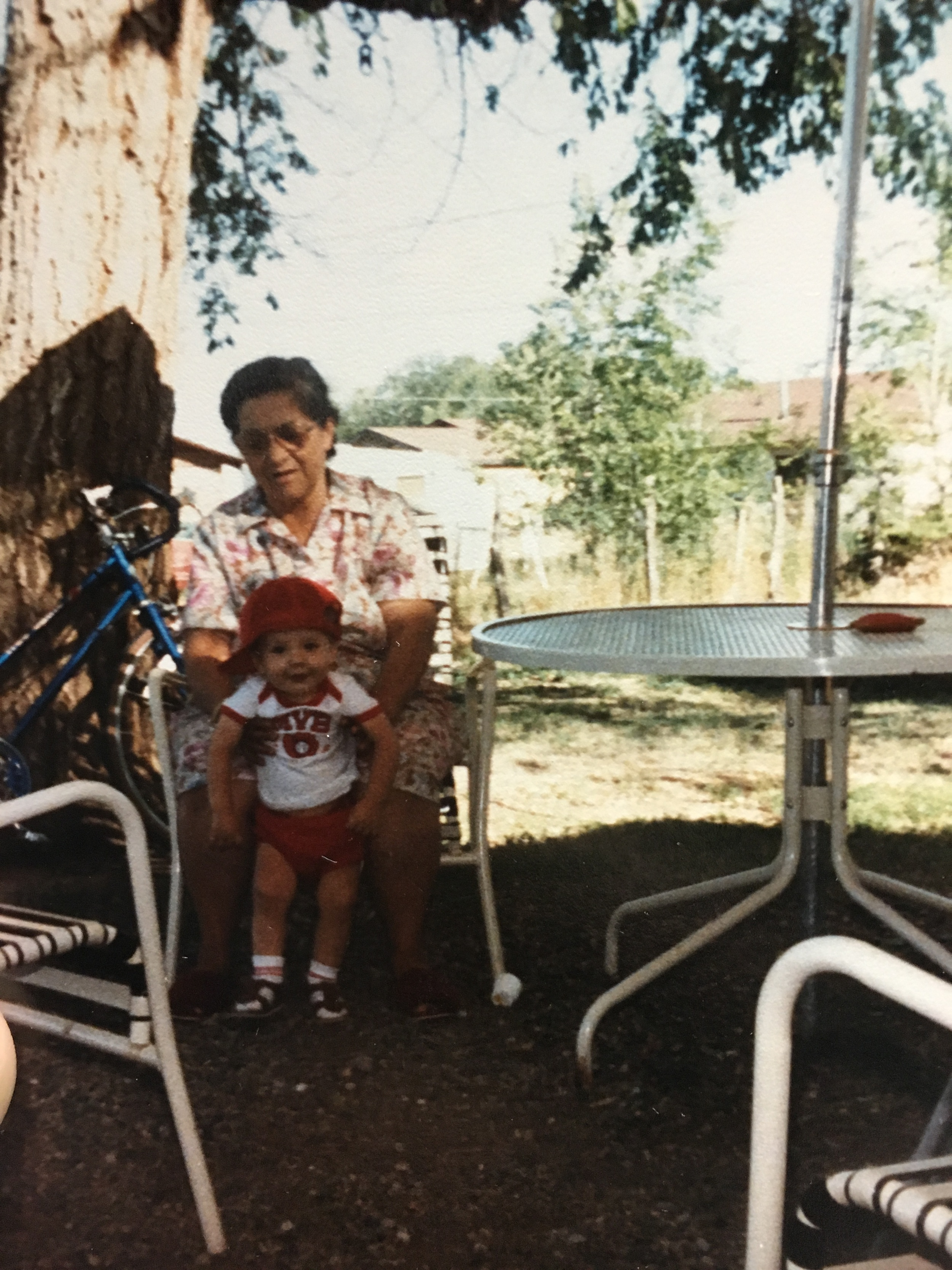 Young Jerry Otero with his grandma Shone