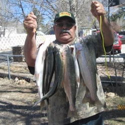 Lupe with the day's catch at navajo pond