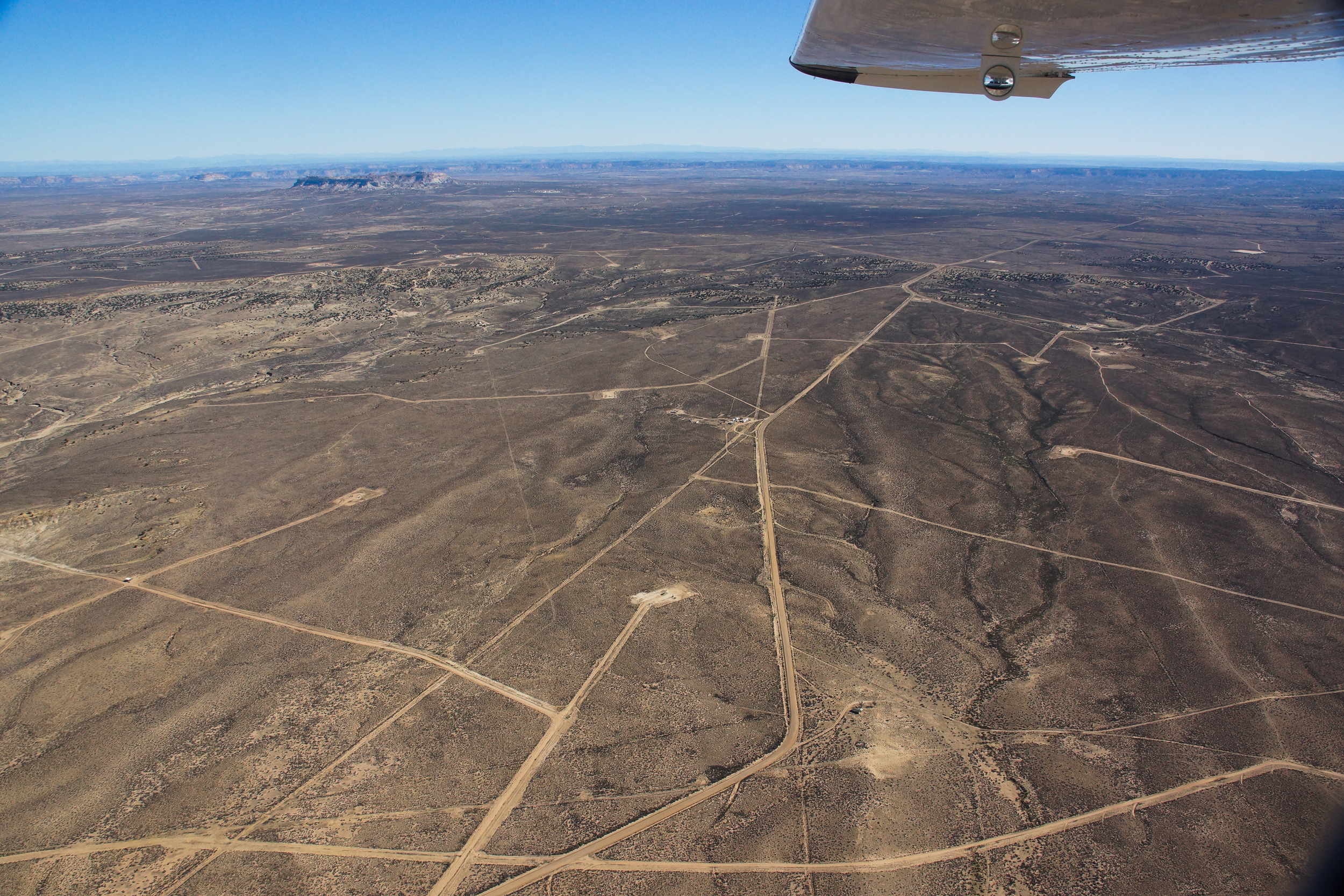 Roads and well pads around Huerfano Mountain in San Juan County New Mexico.
