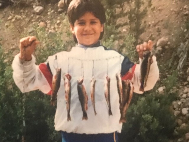 Utah State Rep. Wheatley's son Mark on his first day of fishing with uncle Bernave