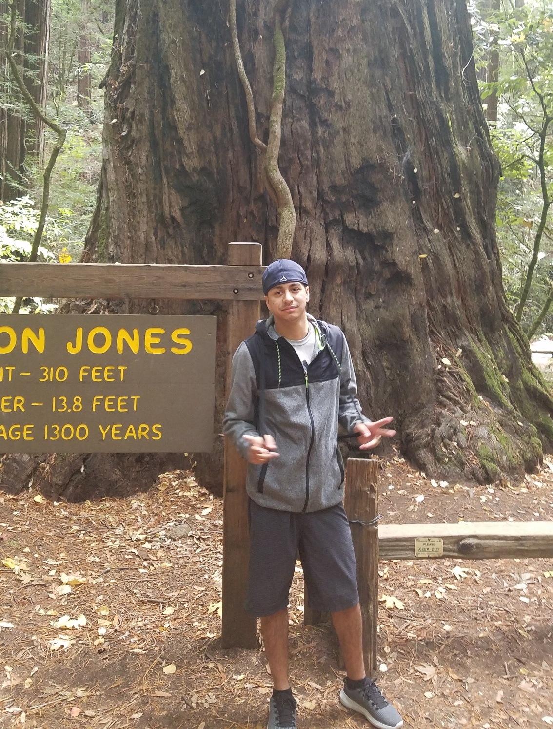 Edward Gutierrez standing in front of Parson Jones, the tallest tree in the Armstrong Redwood Natural Reserve in California | October 2018