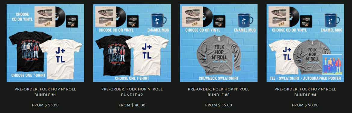 Pre-order bundle options for Judah and the Lion. Mockups and item arrangement designed by Rivet.