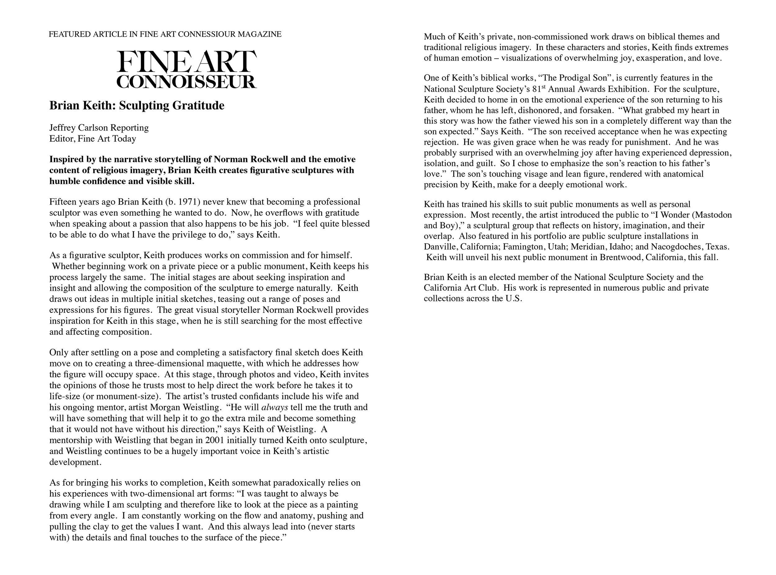 Fine Art Connoisseur Magazine Feature Article