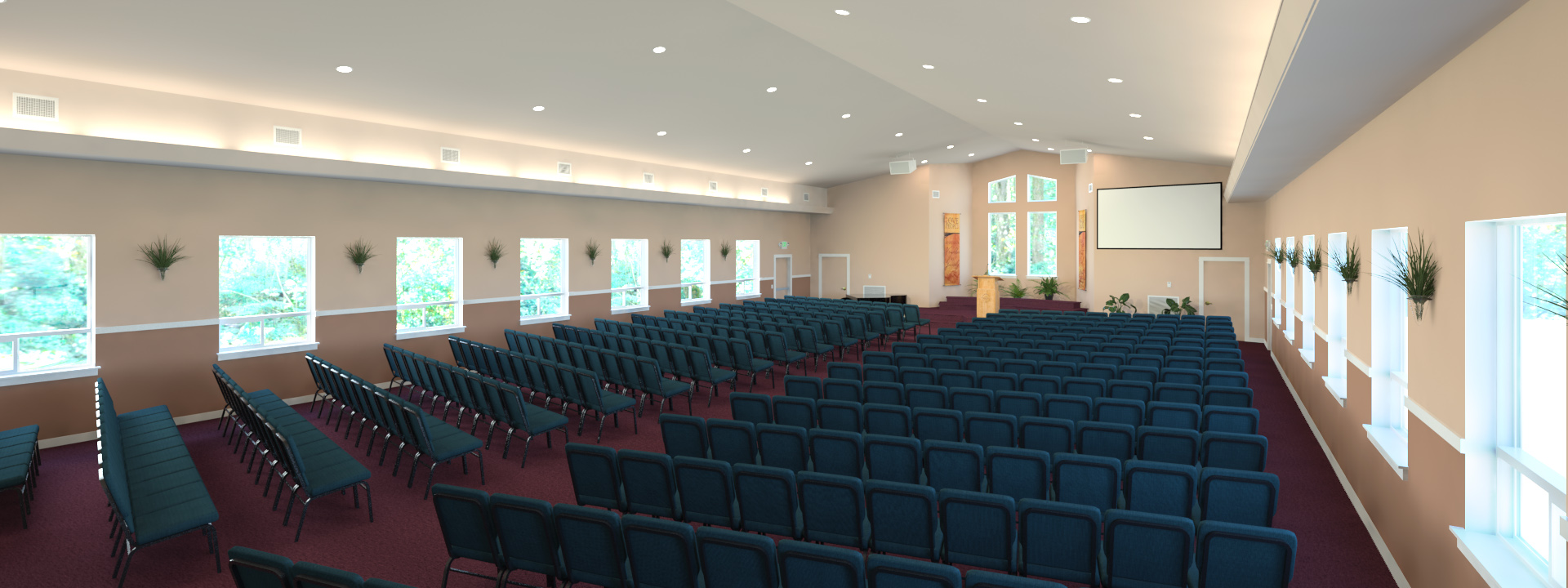 Expanded worship center. Graphic art by Josh Suko.