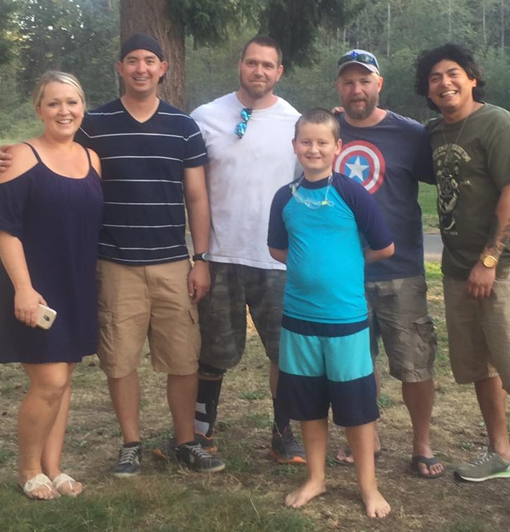 Young Gabriel and his mother Hannah meet his dad Gabe's battle buddies after ten years.  L to R:  Hannah (De Roo) Clark, Eric Sakuma, Jon Stuart, Gabriel De Roo II, Greg Savage, Steven Montanio.