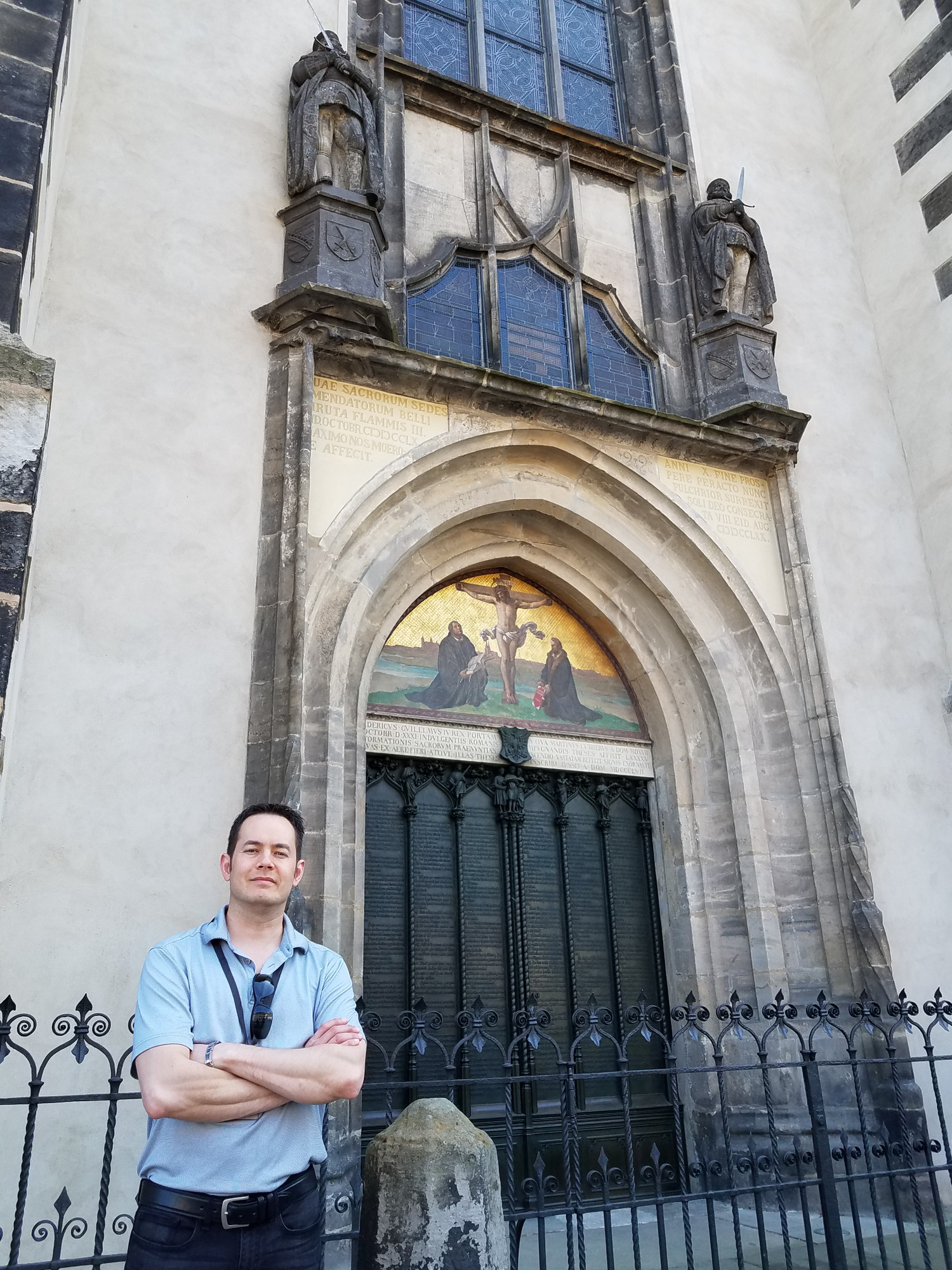 Pastor Chris stands in front of the Castle Church door that Luther nailed his 95 discussion points to.  Today those points are engraved in the door.  This is one of the most famous doors in the world.