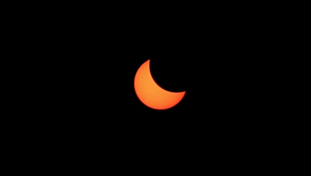 The solar eclipse photographed from our home.