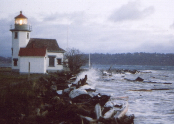 Winter storm at Point Robinson LIght, Vashon Island, WA.