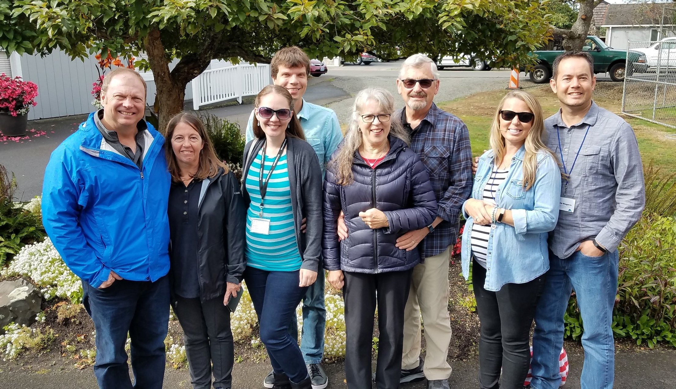 Meeting of our DBC team outside the chapel of Cannon Beach Christian Conference Center.