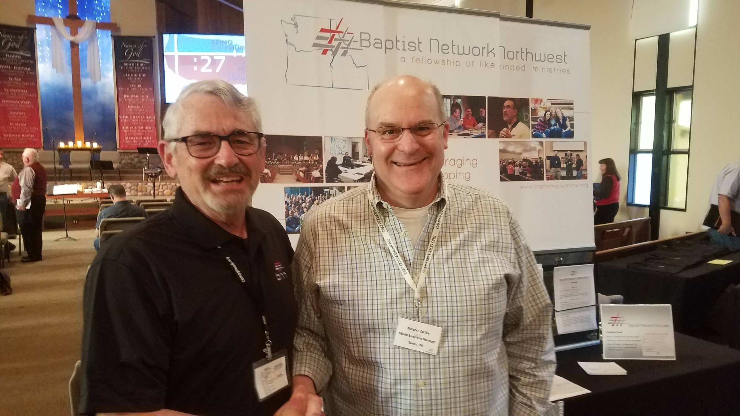 I am standing with Nelson Zarfas our BNN business manager and loan officer last week at our conference in Everett. We so appreciate the work BNN has done to make it possible for us to be able to help cover the cost of building. By the way, thanks to them for the free BNN polo shirt too. :-)
