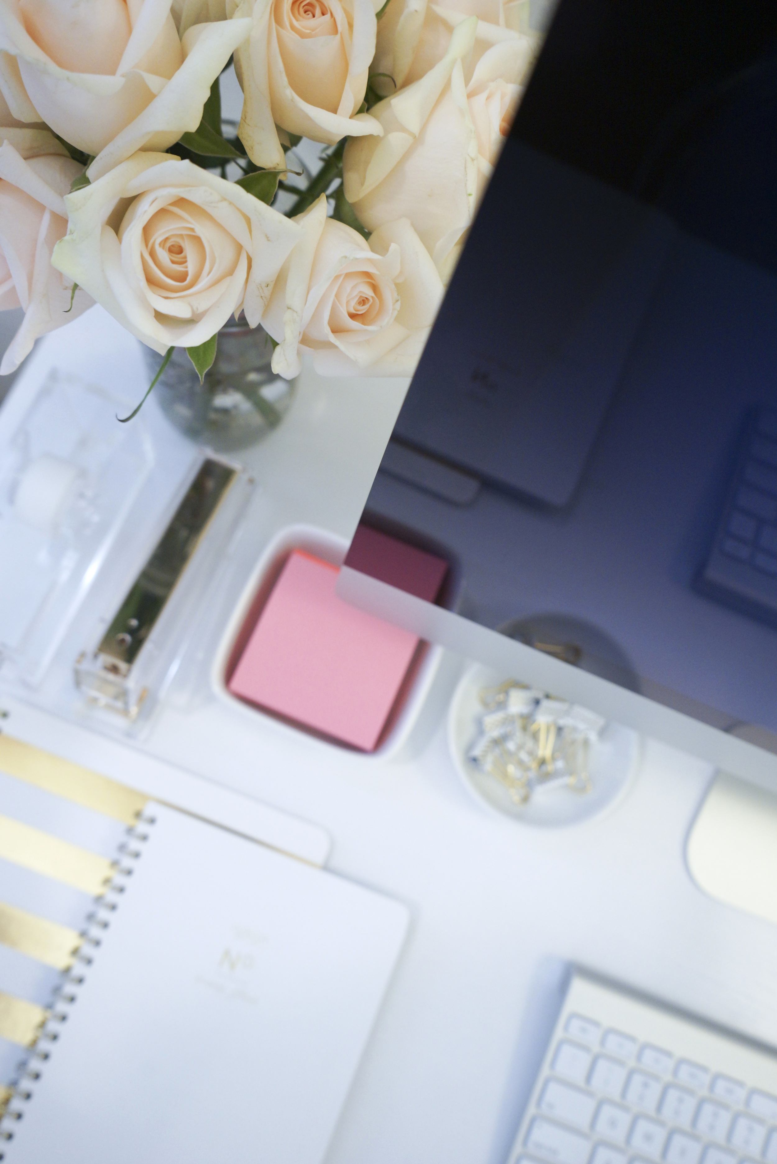 White and Gold Desk Workspace
