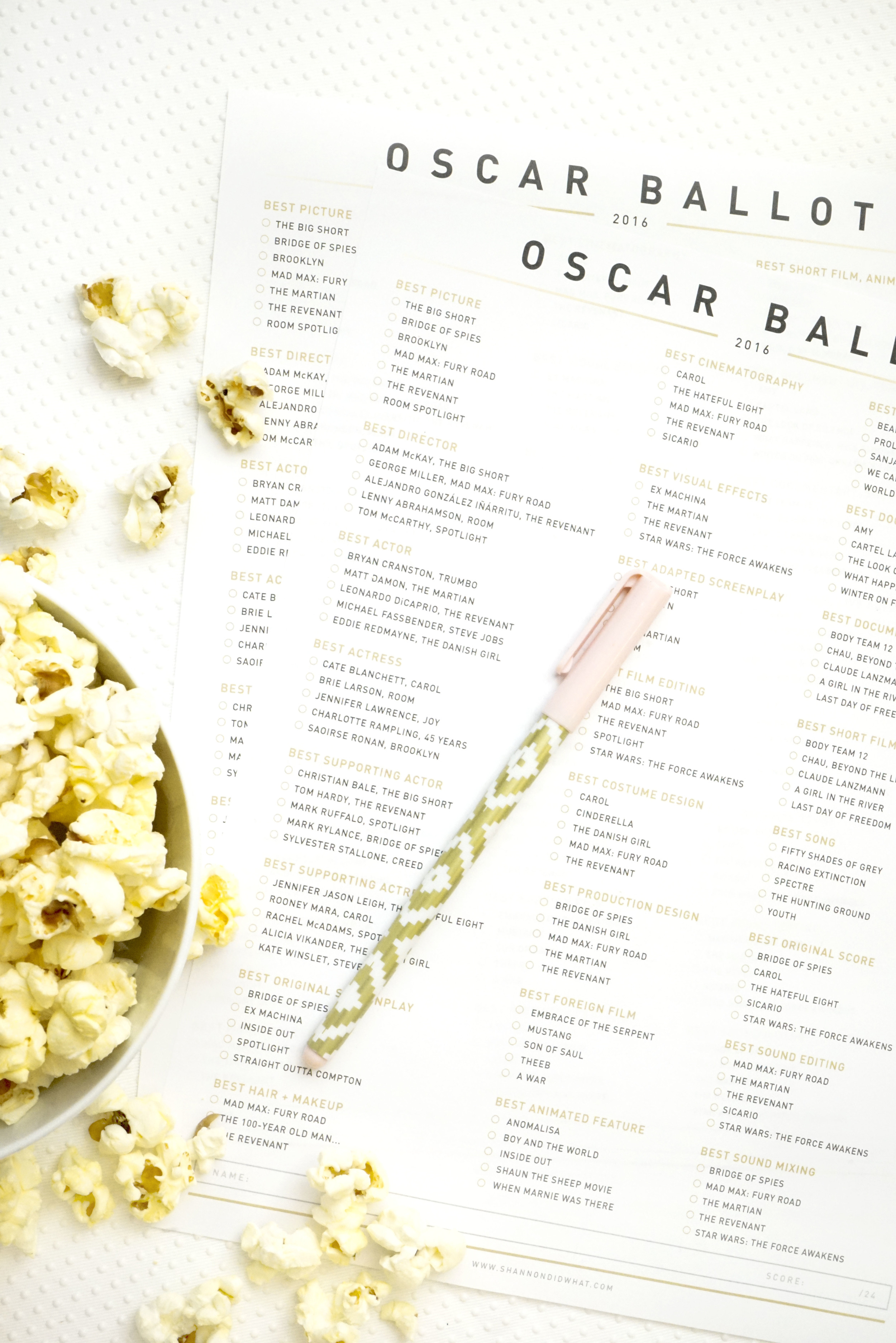 Free Downloadable Oscars Ballot - Shannon Did What?