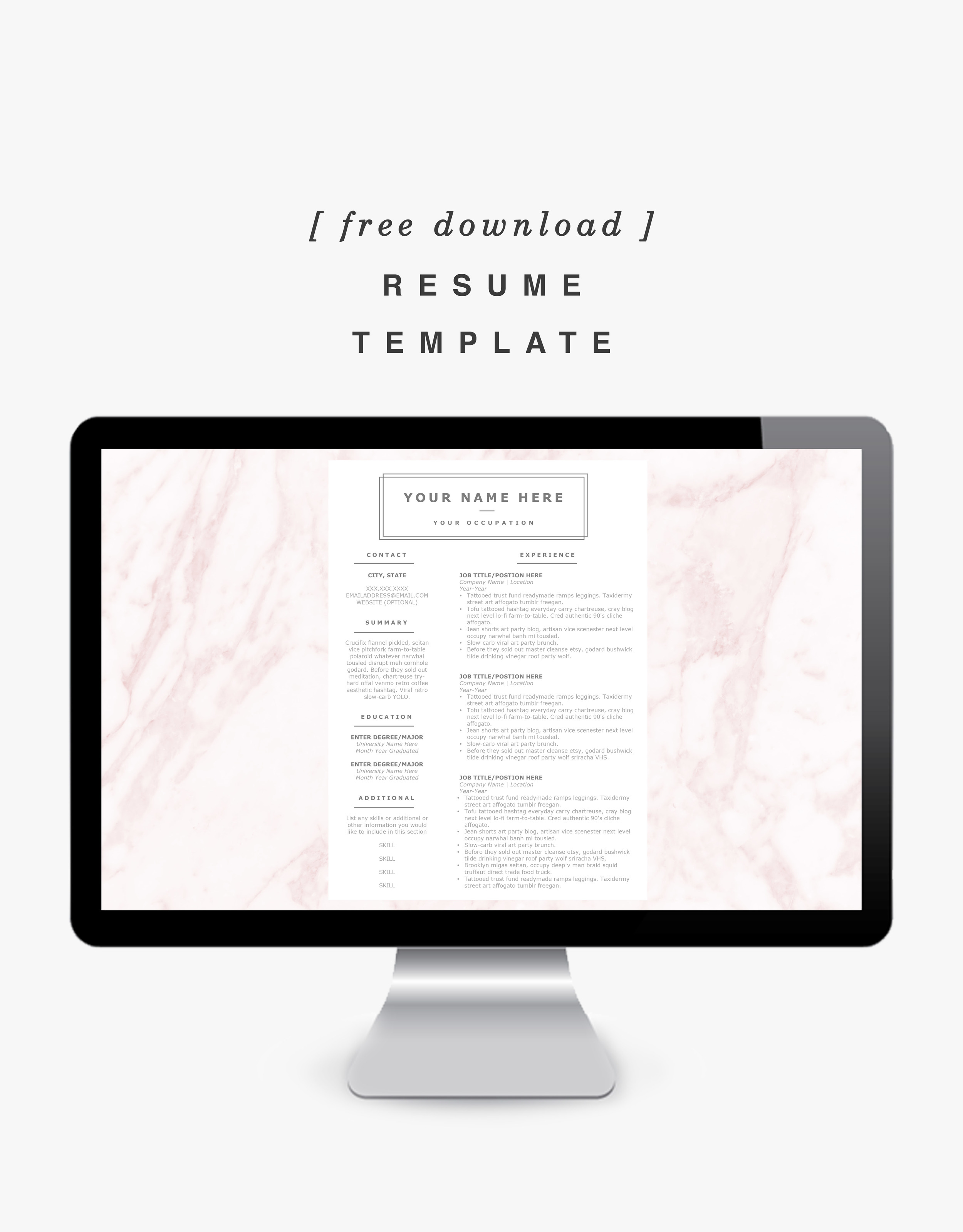 Resume Template - Free Download on Shannon Did What?