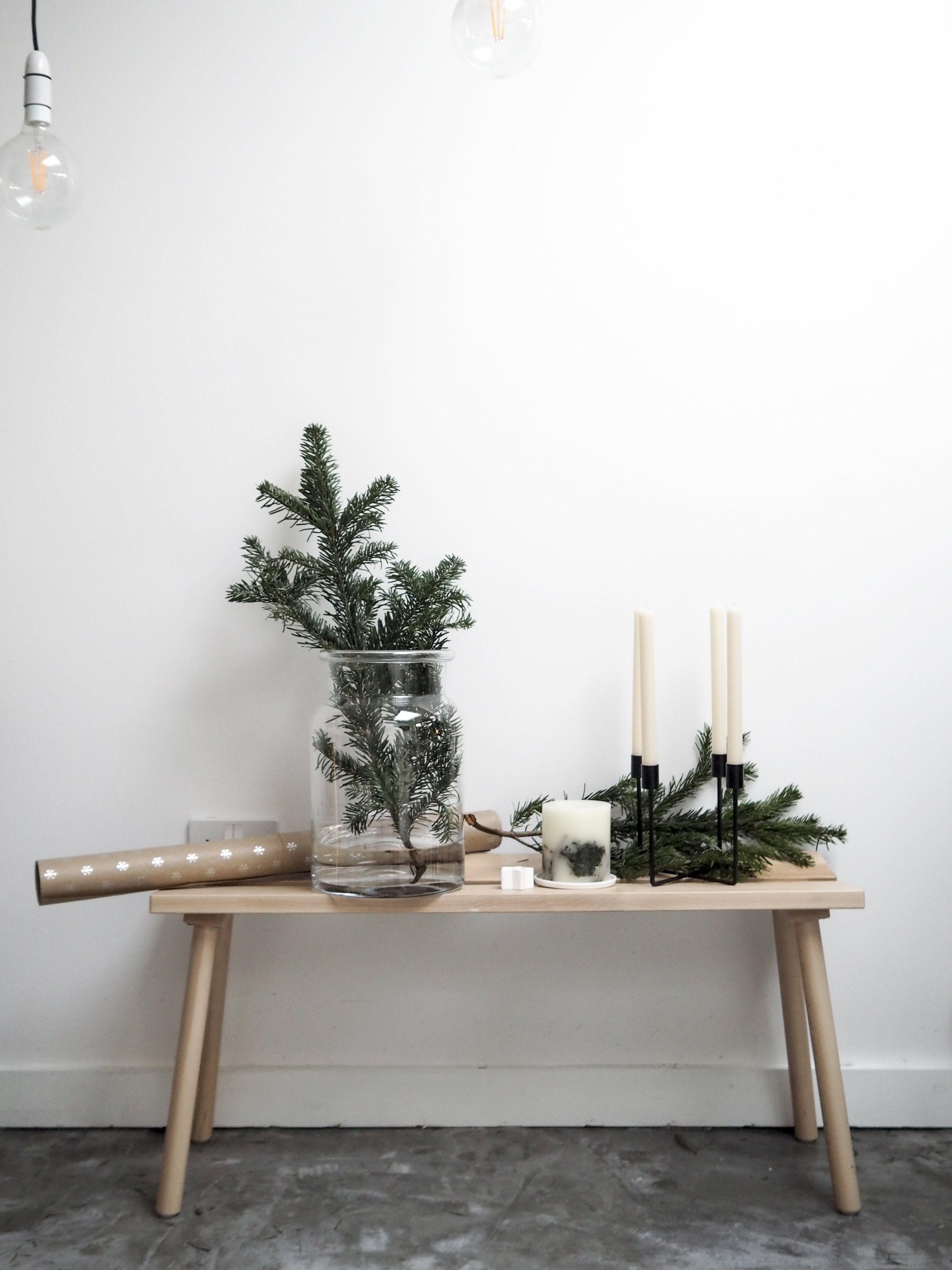 Aurelie Vase  /  Fir Tree Botanical Candle  /  Candle Plate  /  Pure Dinner Candles  /  Wrapping Paper