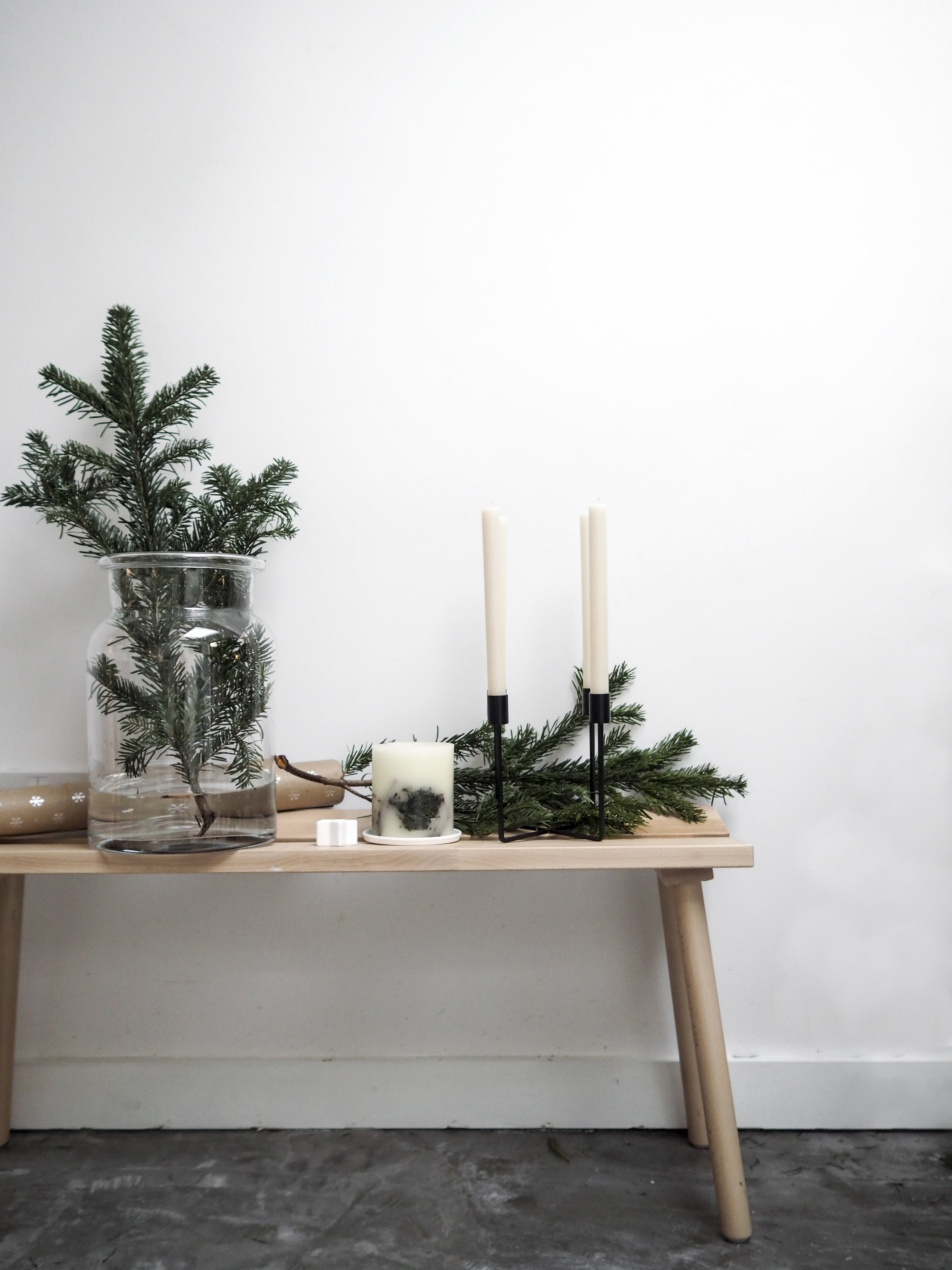 Aurelie Vase  /  Fir Tree Botanical Candle  /  Candle Plate  /  Pure Dinner Candles