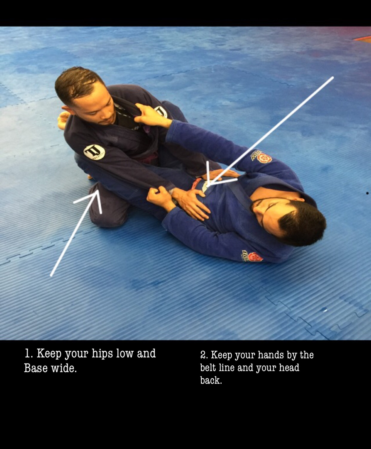 These 2 steps keep you out of range of your opponent's attacks, and exhausts their legs.