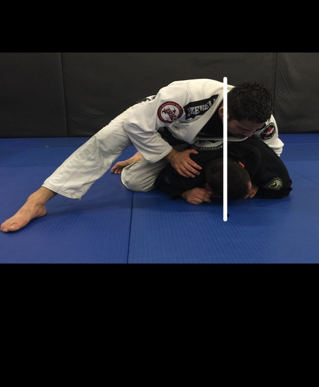 Don't do this! Your weight is top heavy. As soon as your head crosses the mid line, your opponent has several reversal opportunities.
