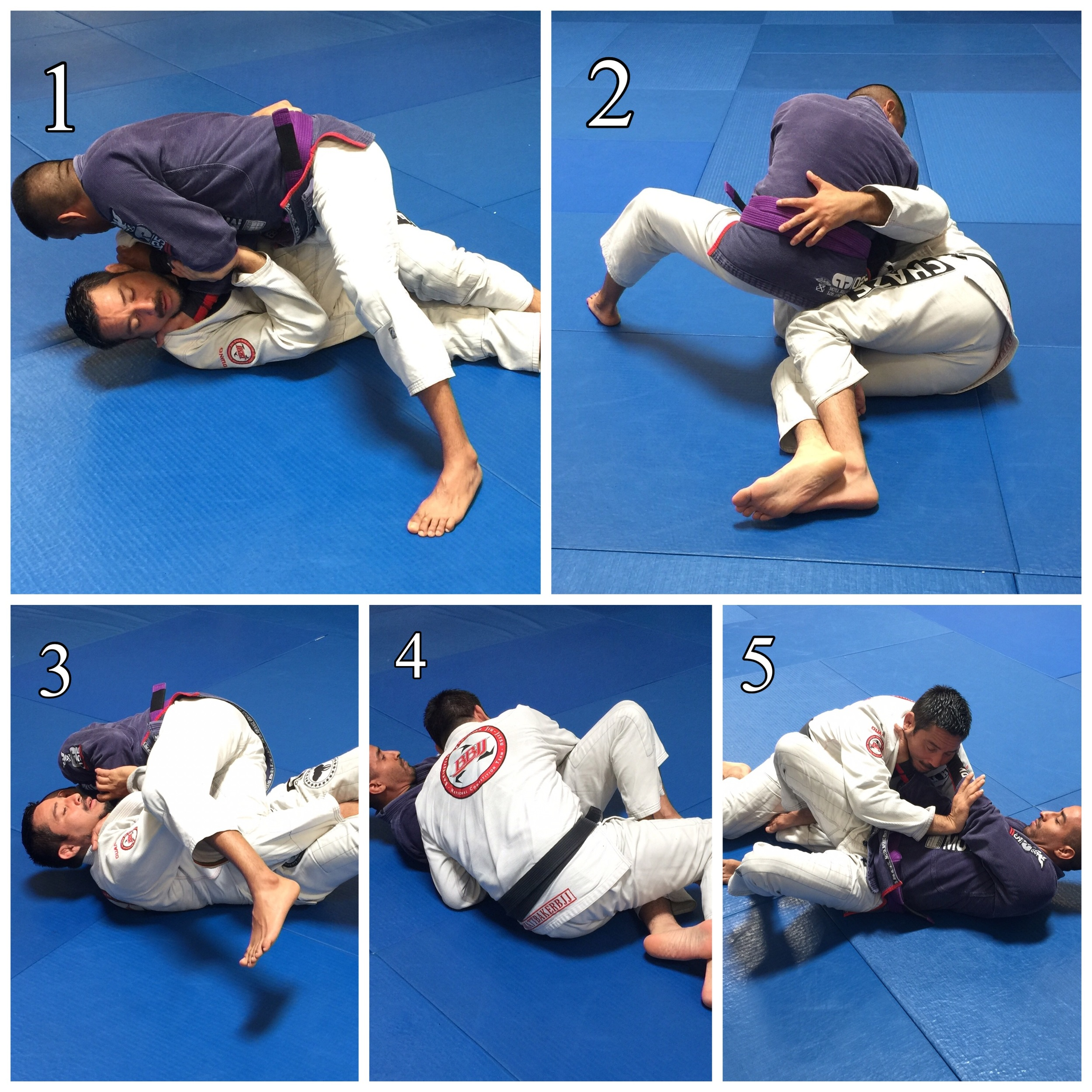 Step # 1  Frame against the Choke.  Step # 2   Connect hips and Grab the belt.  Step # 3  Slide in hips.   Step # 4  Bump and role back.   Stop # 5  Disconnect and back out of choke.