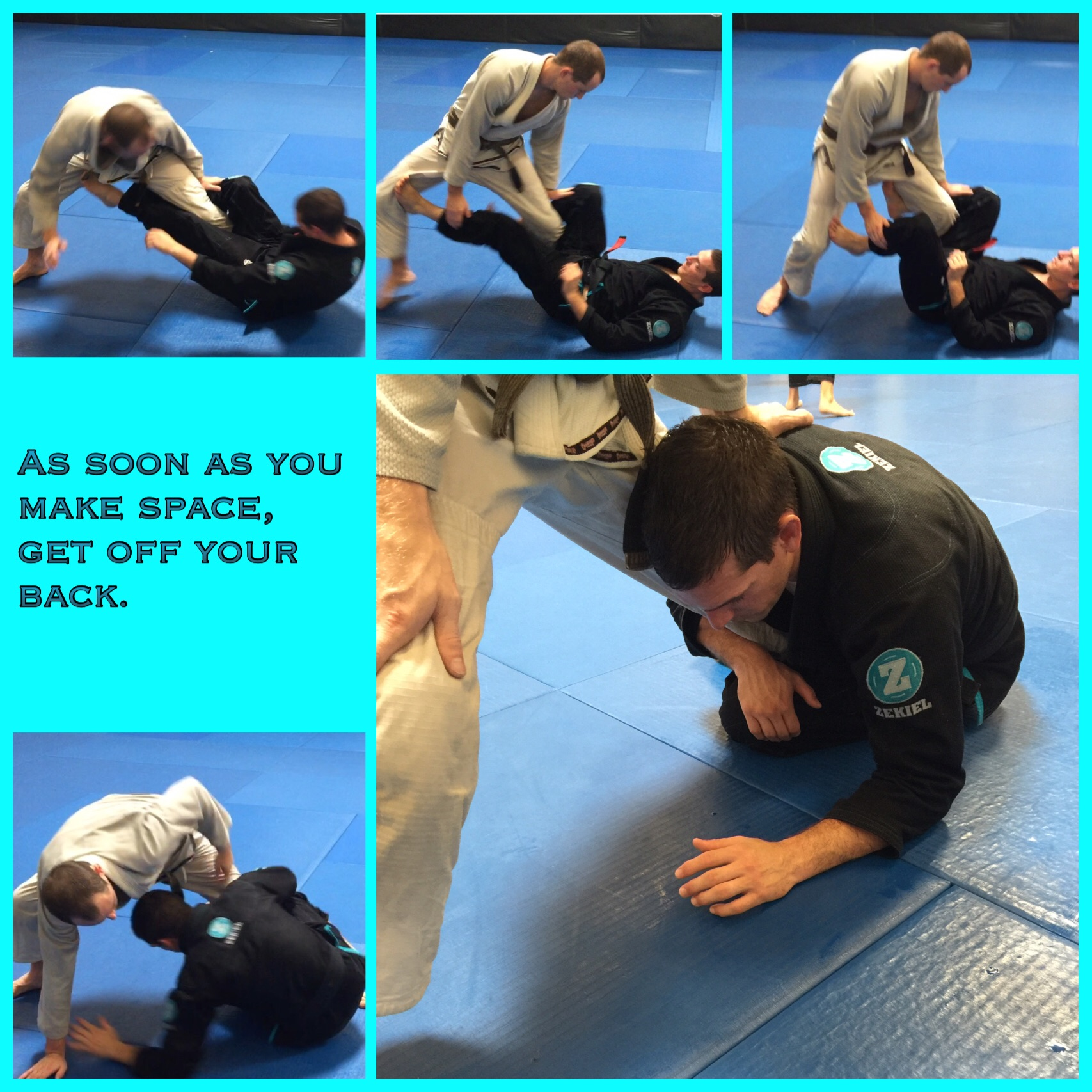 Here is an example of how to get to Koala Guard from De Lariva Guard. As Ben pushes down on Ian's leg the transition begins.